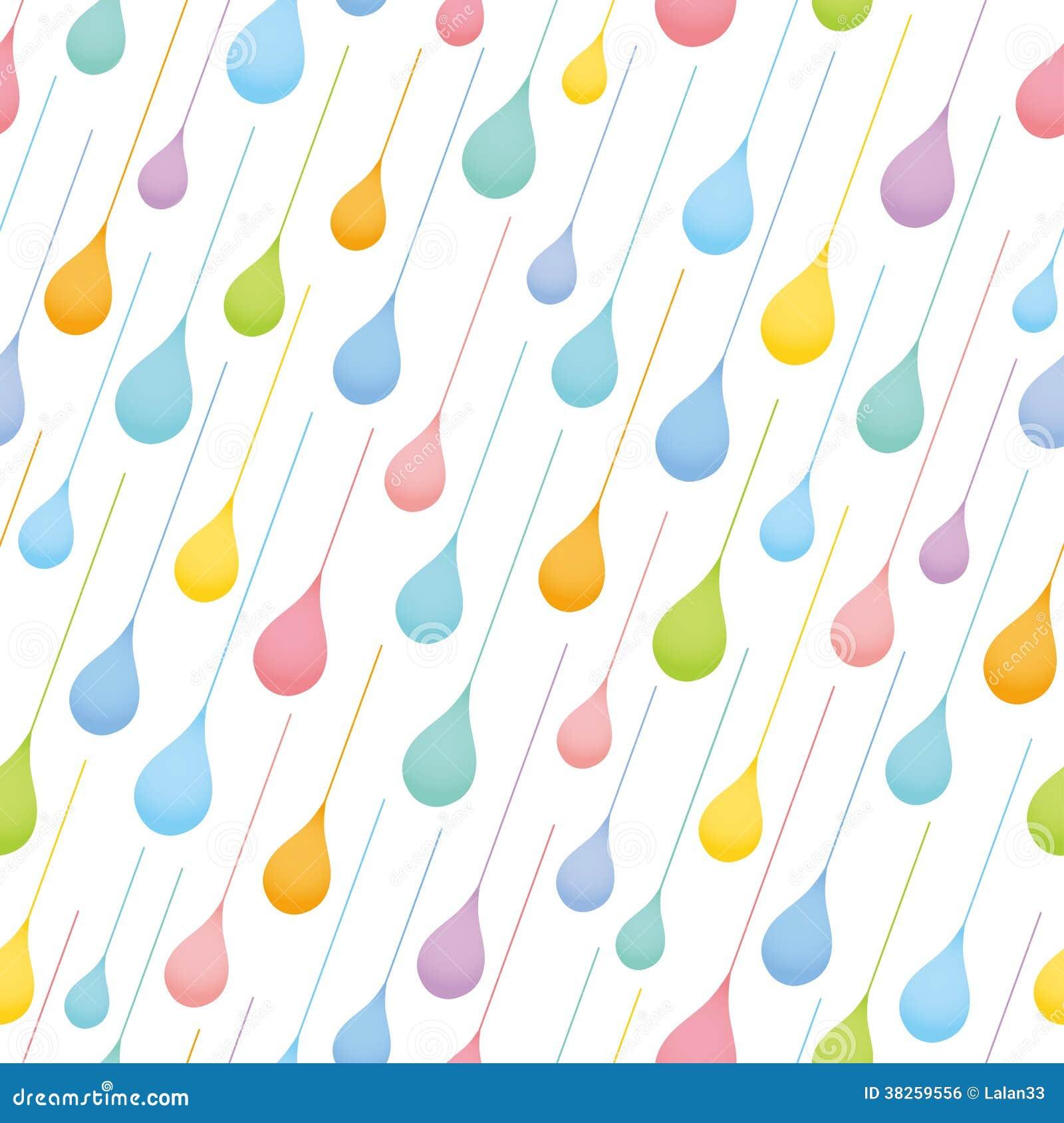 Bezszwowy wzór z kolorowymi raindrops.