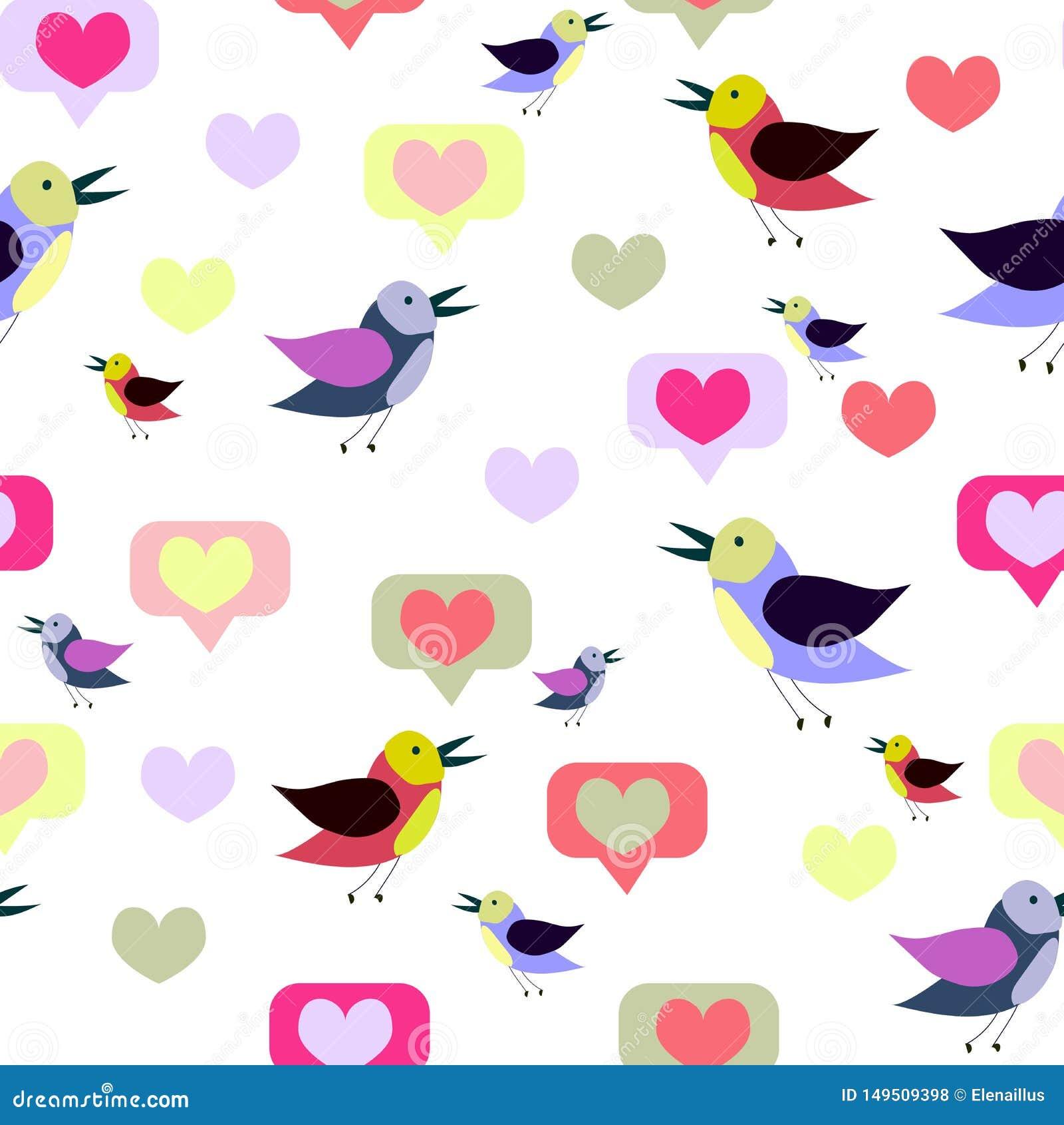 Bezszwowy wzór z kreskówek sercami i ptakami Wiosna, lato projekt Wektorowa tekstura, druk, papier