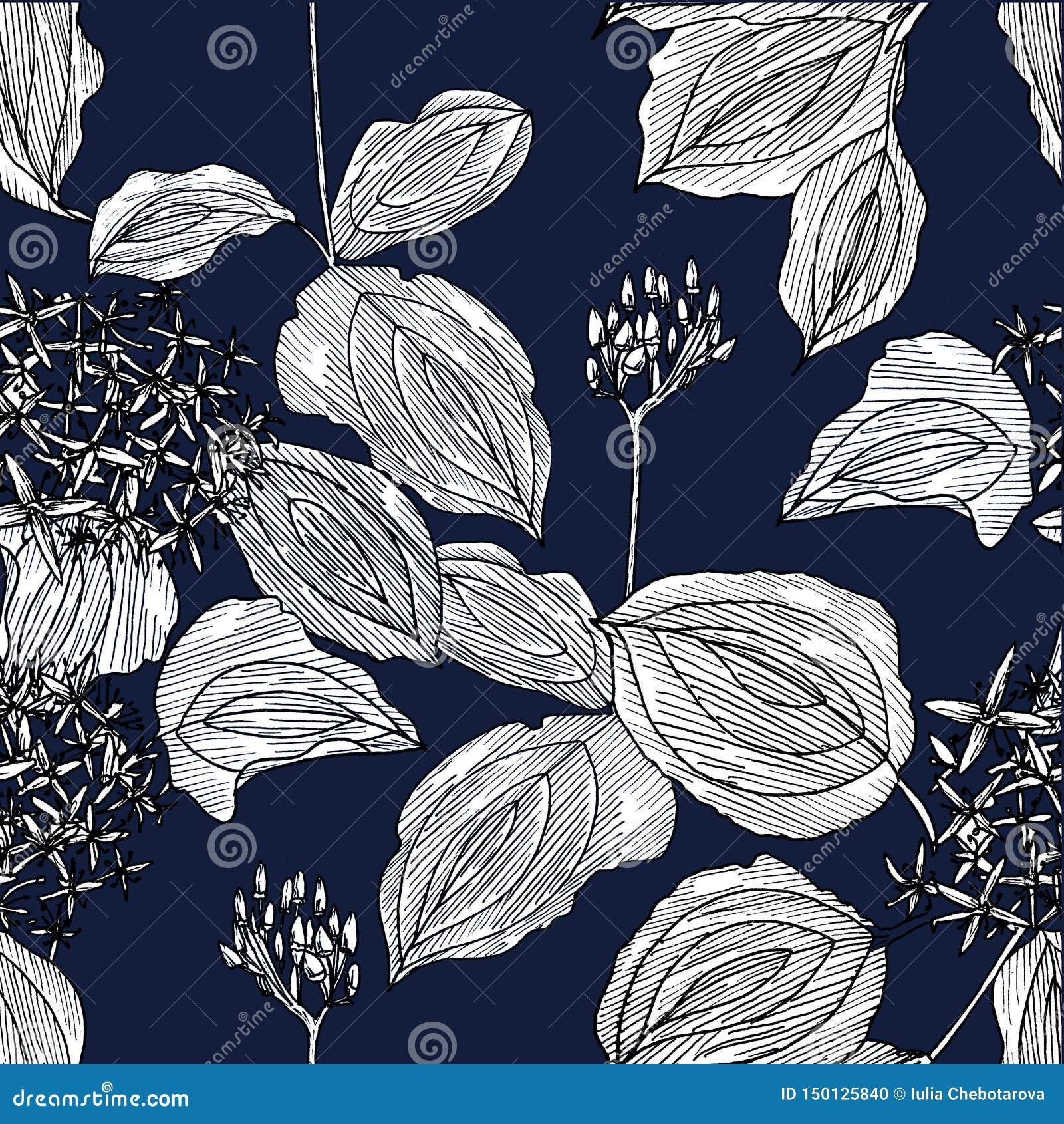 Bezszwowy wzór z kwiatami na zmroku - błękitny tło grafit