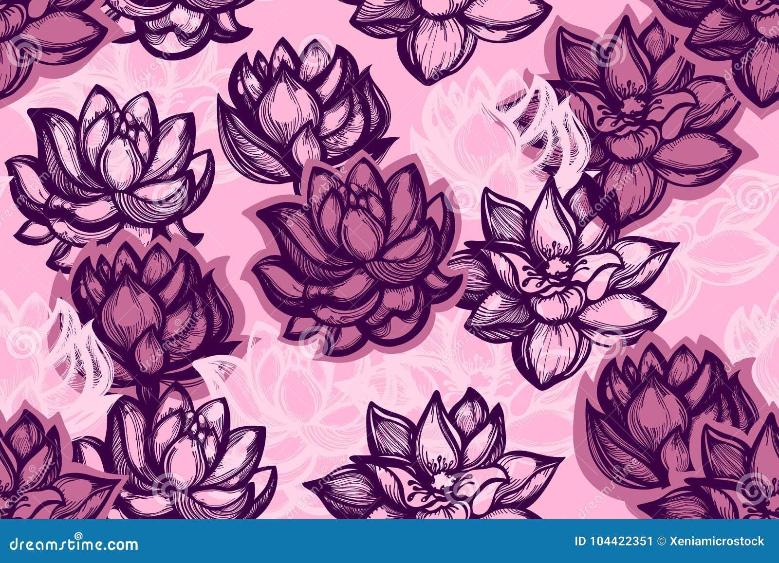 Bezszwowy wzór z lotosowymi kwiatami na różowym tle Tło z wodą kwitnie w Chińskim stylu