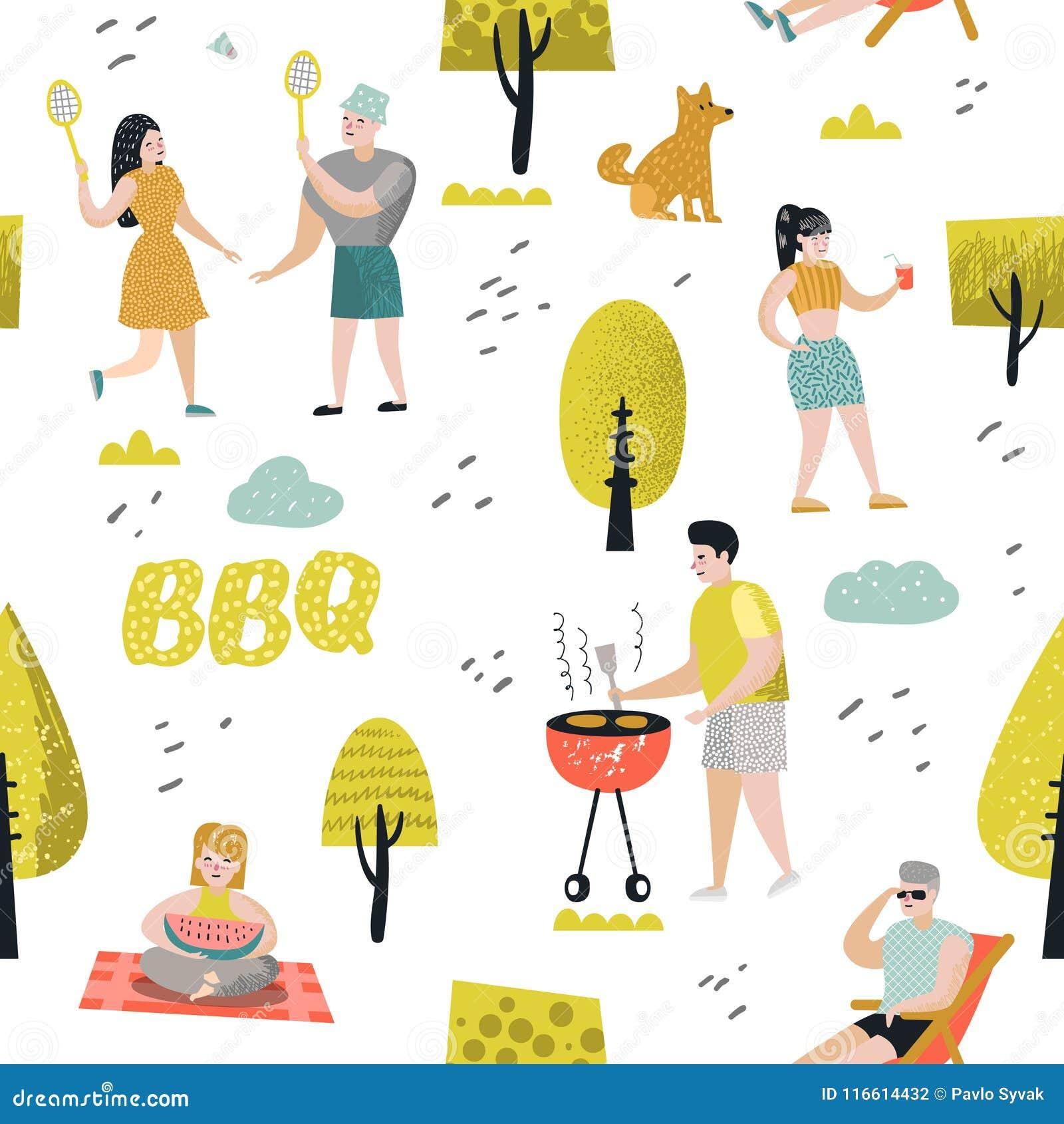 Bezszwowy wzór z ludźmi na BBQ przyjęciu Przyjaciele na lato grillu i grilla tle Plenerowy Kulinarny mięso