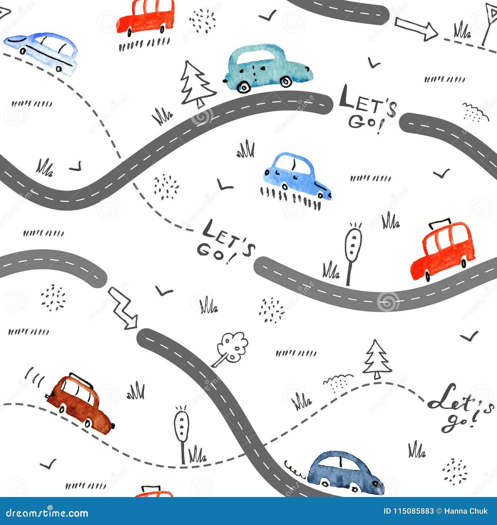 Bezszwowy wzór z małymi samochodami i drogowymi znakami na białym tle