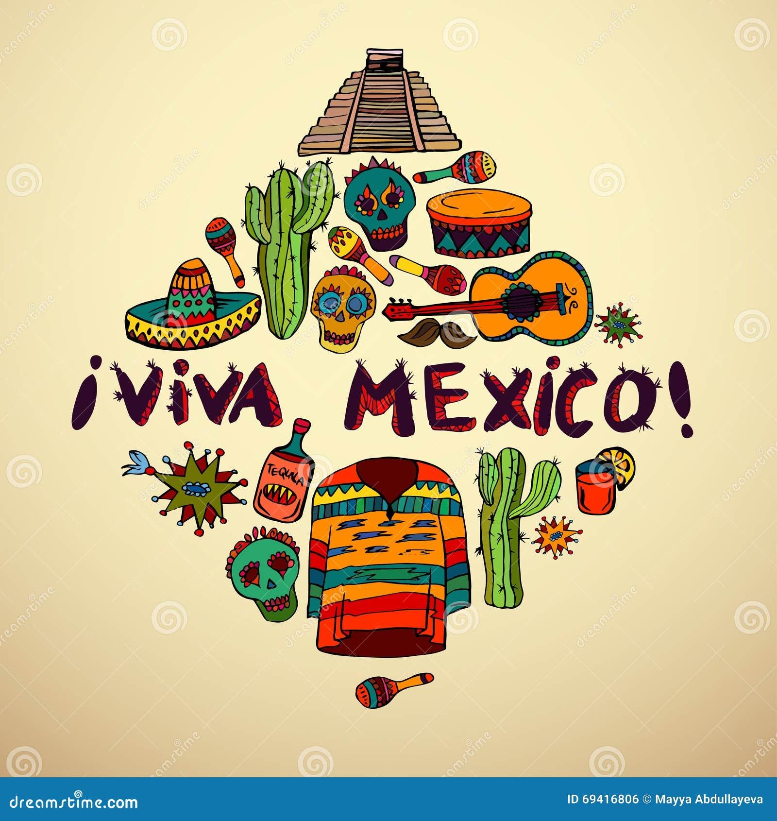 Bezszwowy wzór z meksykańskimi symbolami