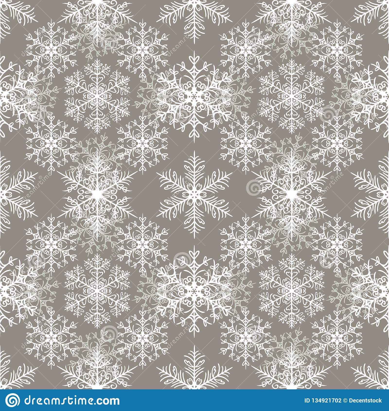 Bezszwowy wzór z płatek śniegu abstrakta tłem Jasnopopielaty tło