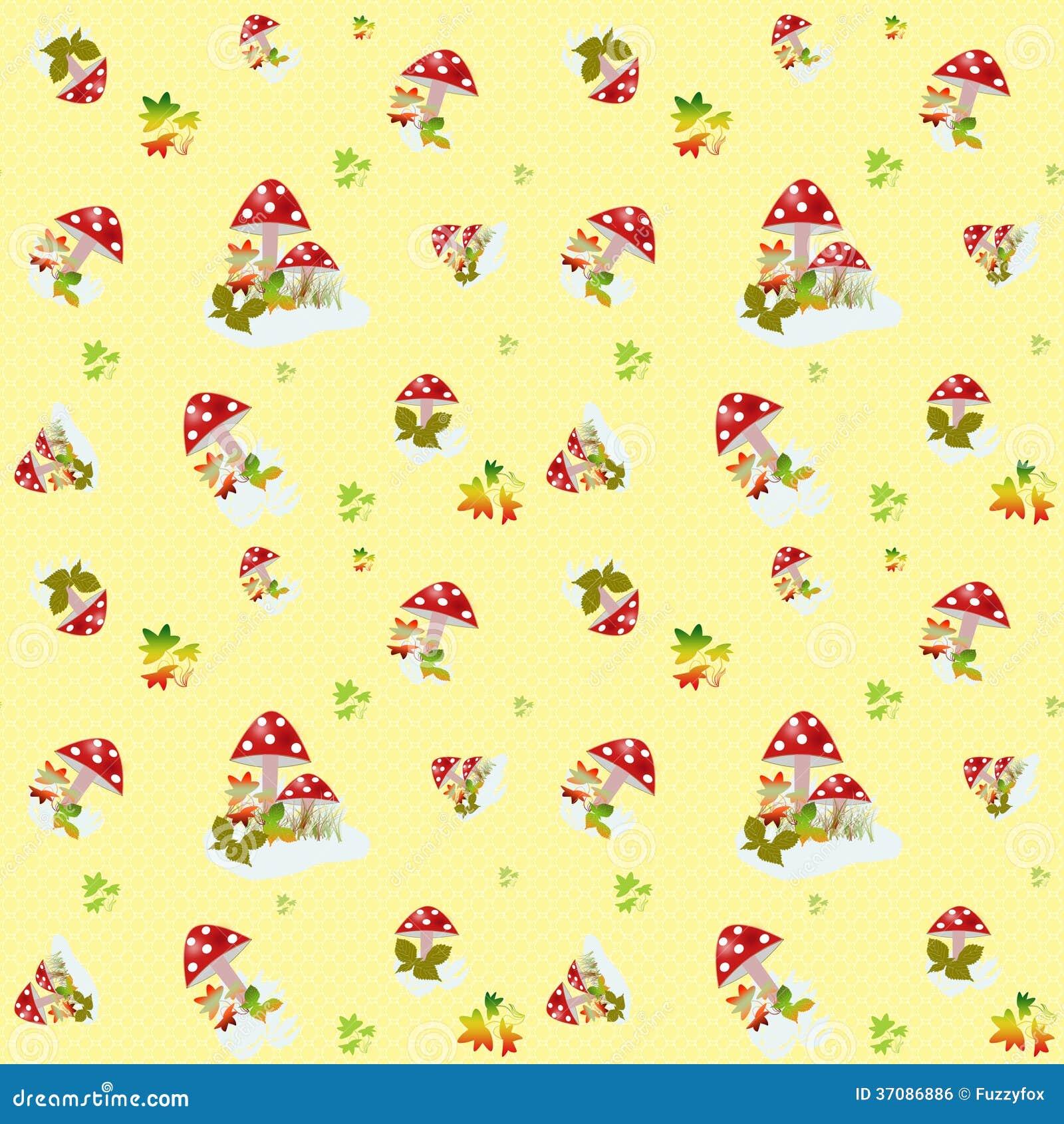 Download Bezszwowy Wzór Z Pieczarkami Na Kolorze żółtym Ilustracji - Ilustracja złożonej z kędziory, dekoracyjny: 37086886