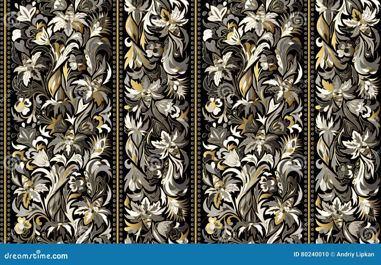 Bezszwowy wzór z pionowo lampasami i kwiecistym ręka rysunku ornamentem Wektorowa tapeta