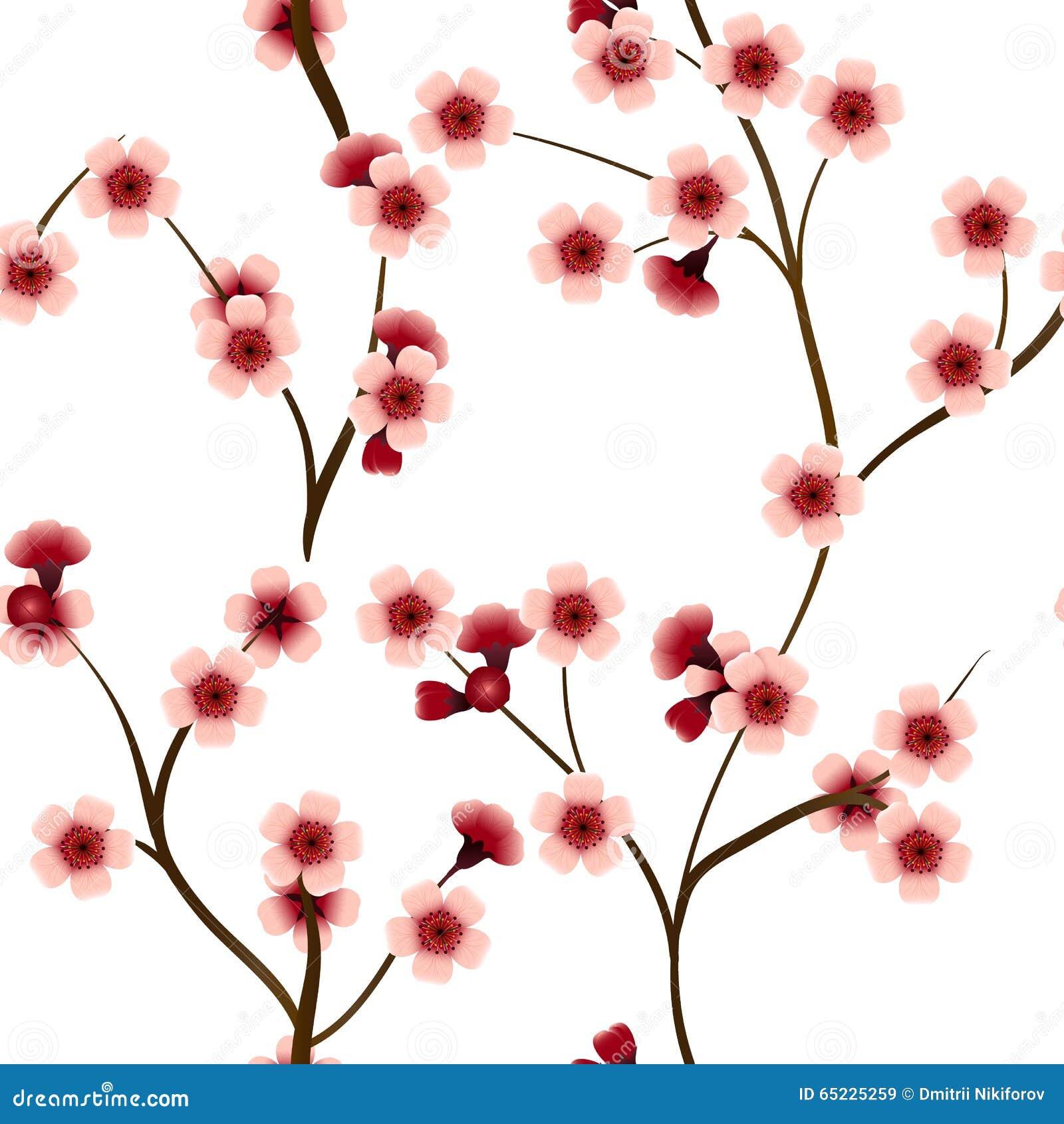 Bezszwowy wzór z różowymi czereśniowymi kwiatami