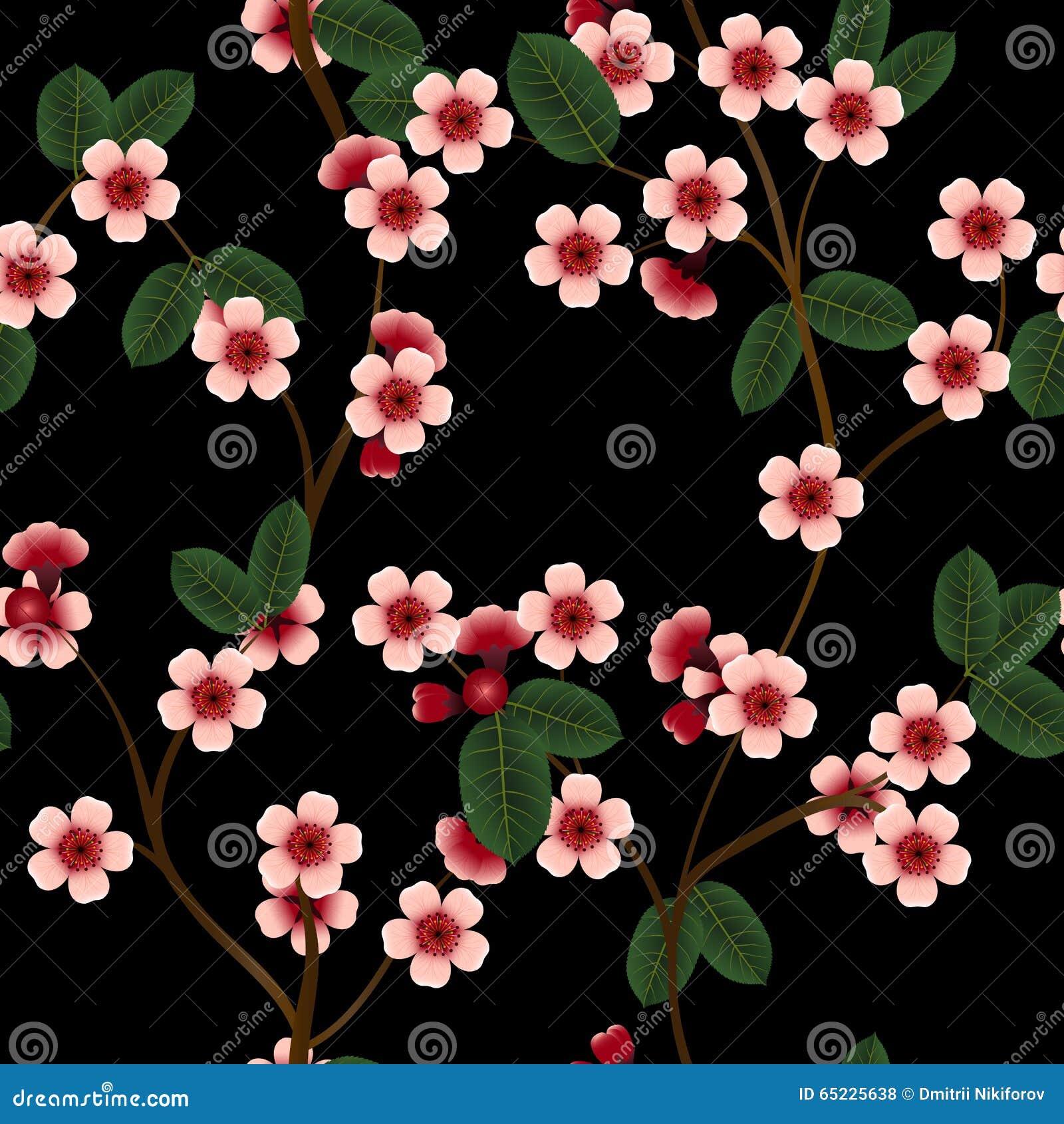 Bezszwowy wzór z różowymi wiśnia kwiatami, liściem i