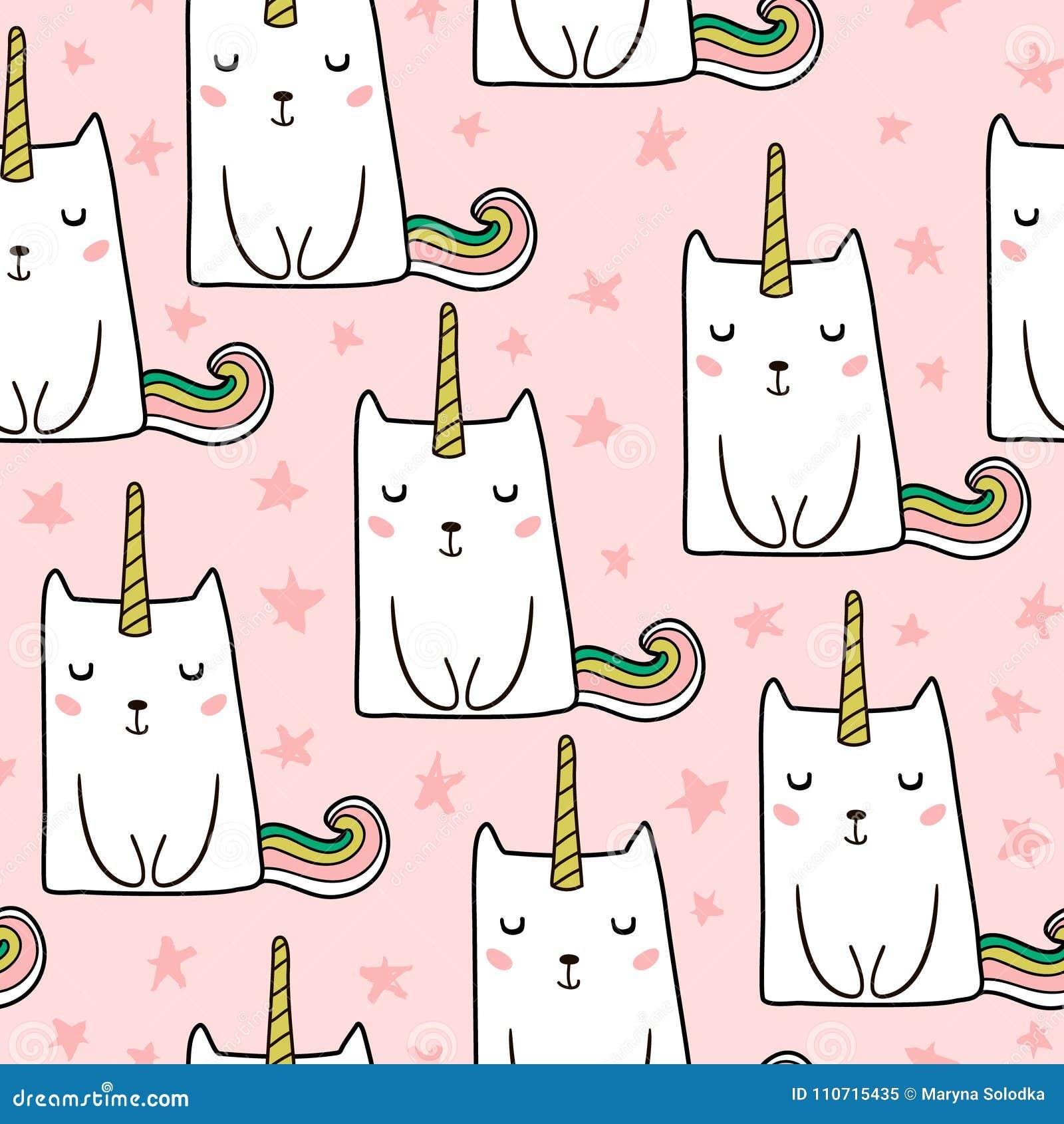 Bezszwowy wzór z ręka rysującą śliczną kot jednorożec zwierzęcego kreskówki kota domastic ilustracyjny zwierzę domowe Doskonalić