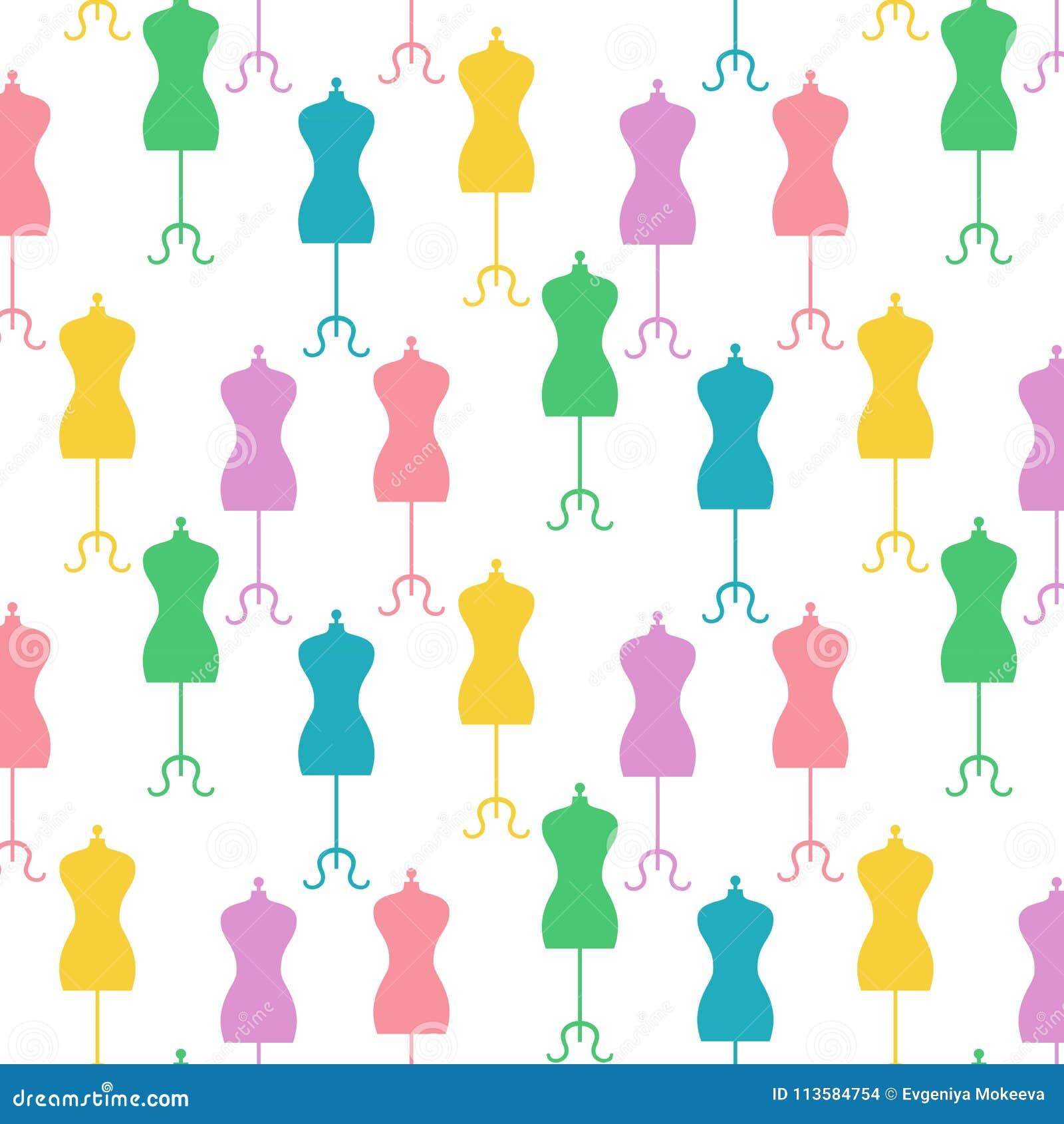 Bezszwowy wzór z roczników mannequins na białym tle