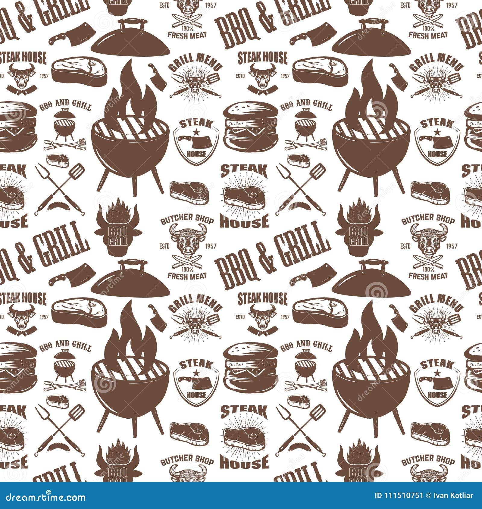 Bezszwowy wzór z steakhouse symbolami Grill, bbq, świeży mięso Projektuje element dla plakata, menu, ulotka, sztandar, menu, paku