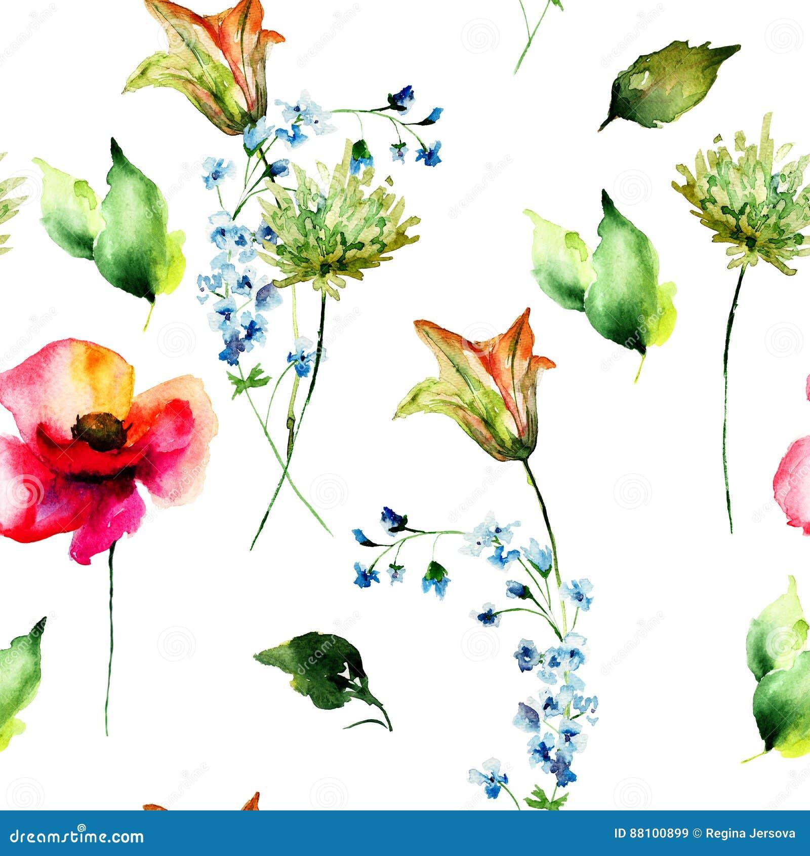 Bezszwowy wzór z Stylizowaną lelują, maczkiem i Gerber, kwitnie