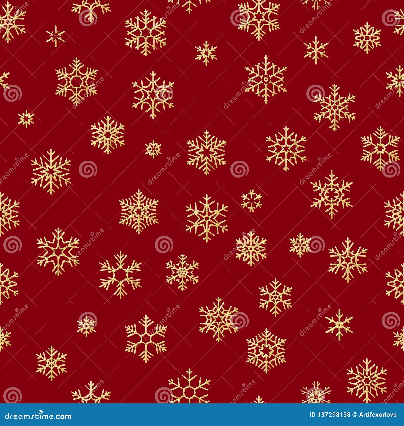 Bezszwowy wzór z złotymi płatek śniegu na czerwonym tle dla bożych narodzeń lub nowego roku wakacji 10 eps