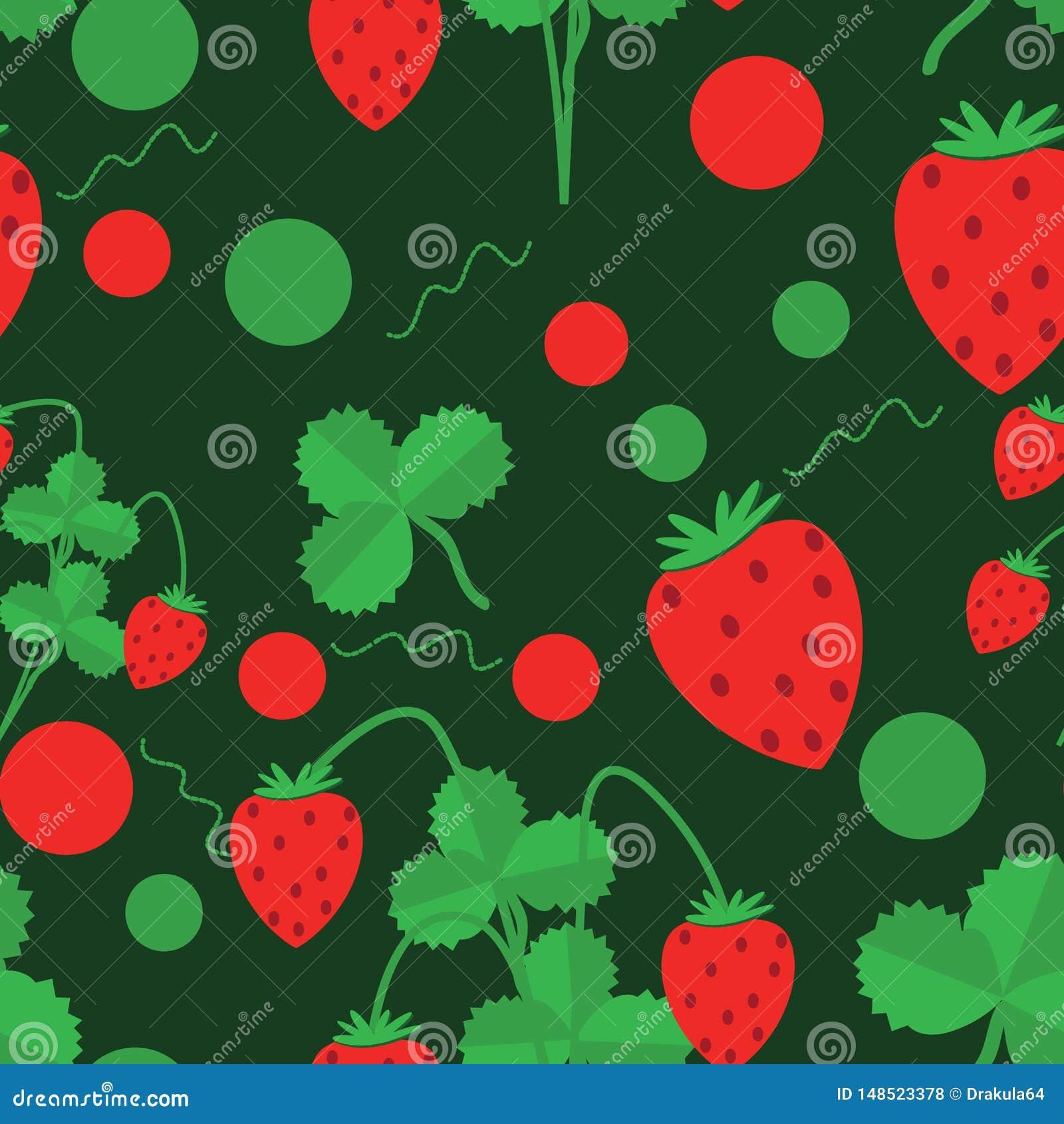 Bezszwowy wzór zieleni truskawki i liście