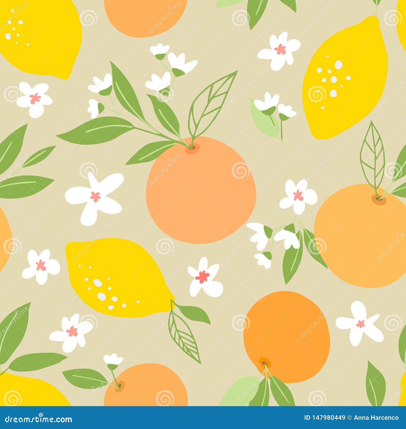 Bezszwowy wz?r z cytrynami i pomara?czami, zwrotnik owoc, li?cie, kwiaty Owoc cz?stotliwy t?o Ro?lina szablon dla pokrywy, bajecz