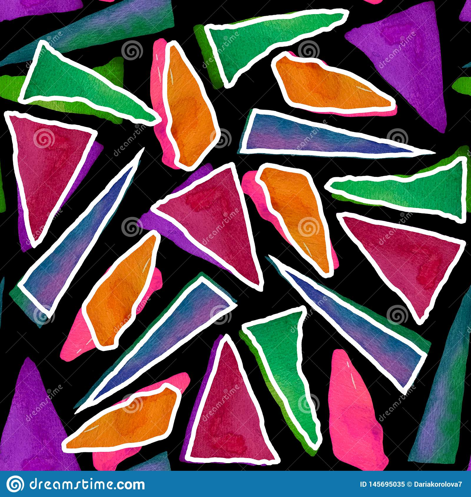 Bezszwowy wz?r z jaskrawymi abstrakcjonistycznymi akwarela tr?jbokami