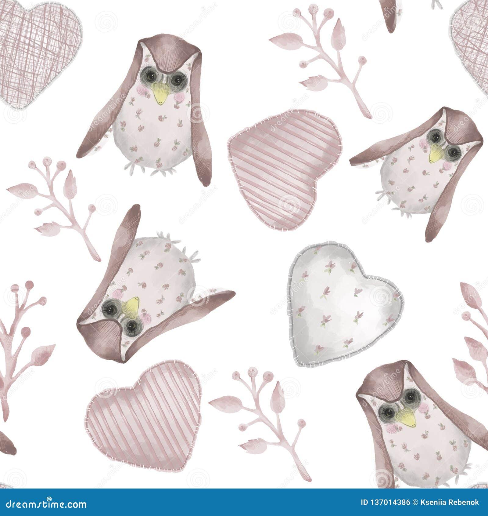 Bezszwowy wzoru Akwareli stylowa tkanina faszerował sowy, gałąź i serca,