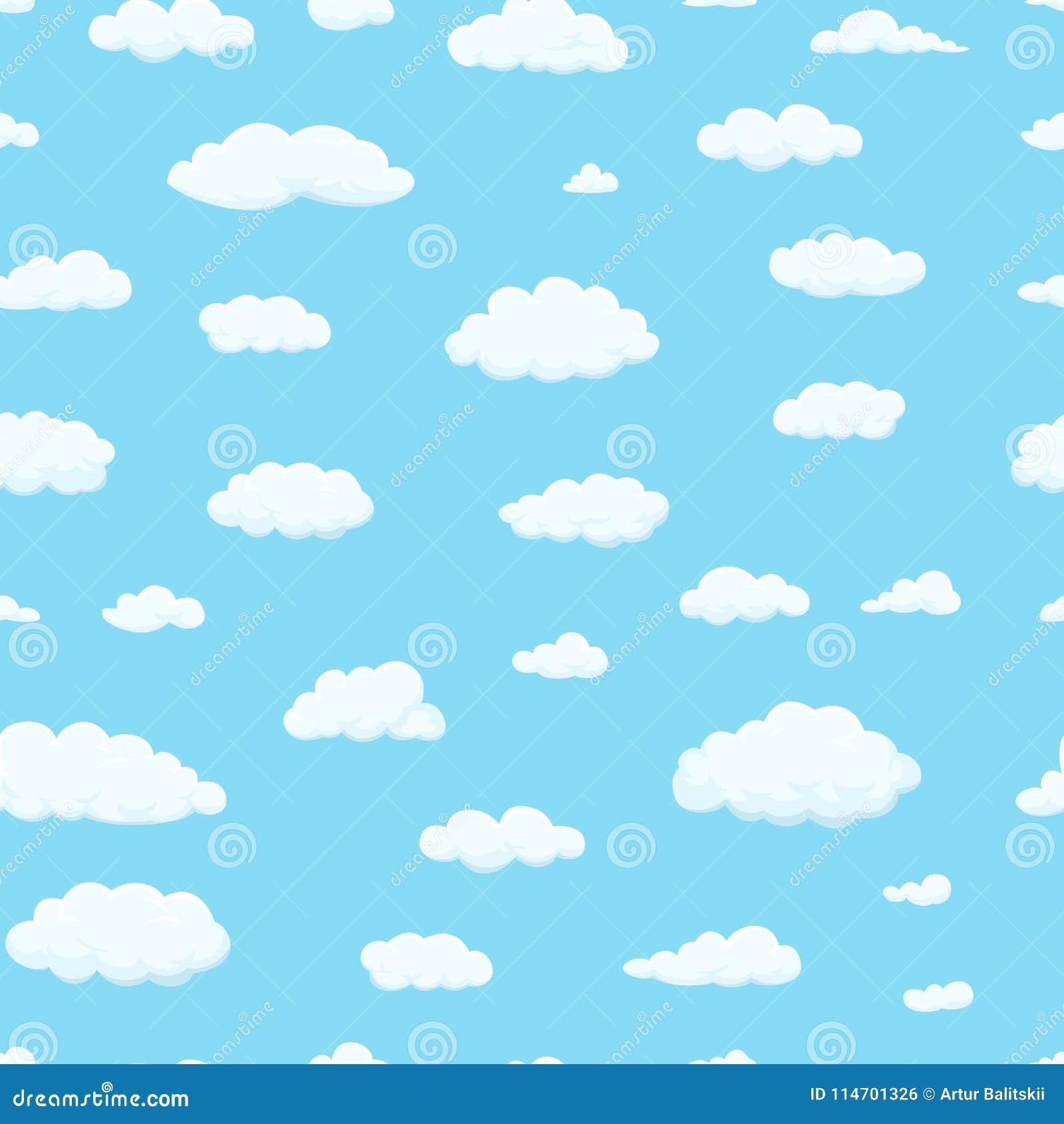 Bezszwowy wzoru Chmury różni kształty w niebie dla twój strona internetowa projekta, UI, app Meteorologia wewnątrz i atmosfera