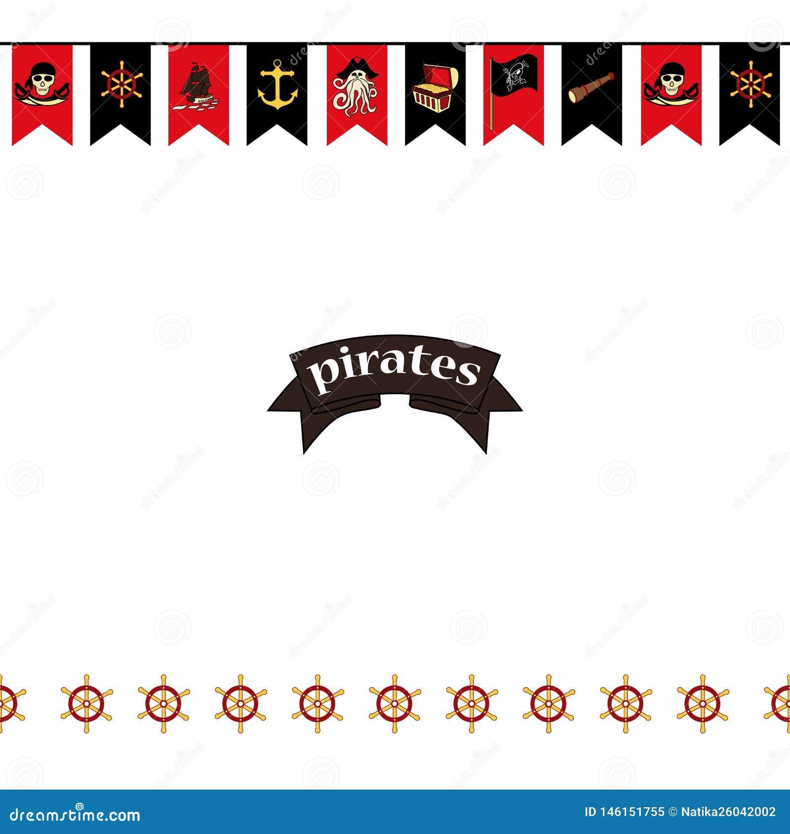 Bezszwowy wzoru Flagi na pirata tematu kordzikach, skarb klatka piersiowa, czaszka, kości, Davy Jones i etc,