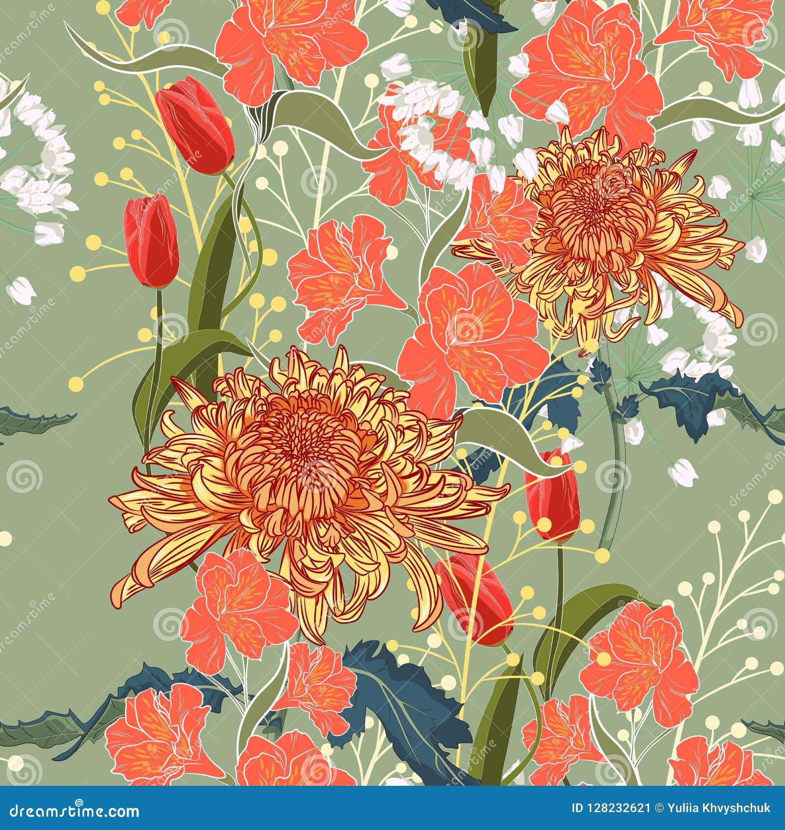 Bezszwowy wzoru Piękni różowi fiołkowi kwitnienie kwiaty zielone roczne tło