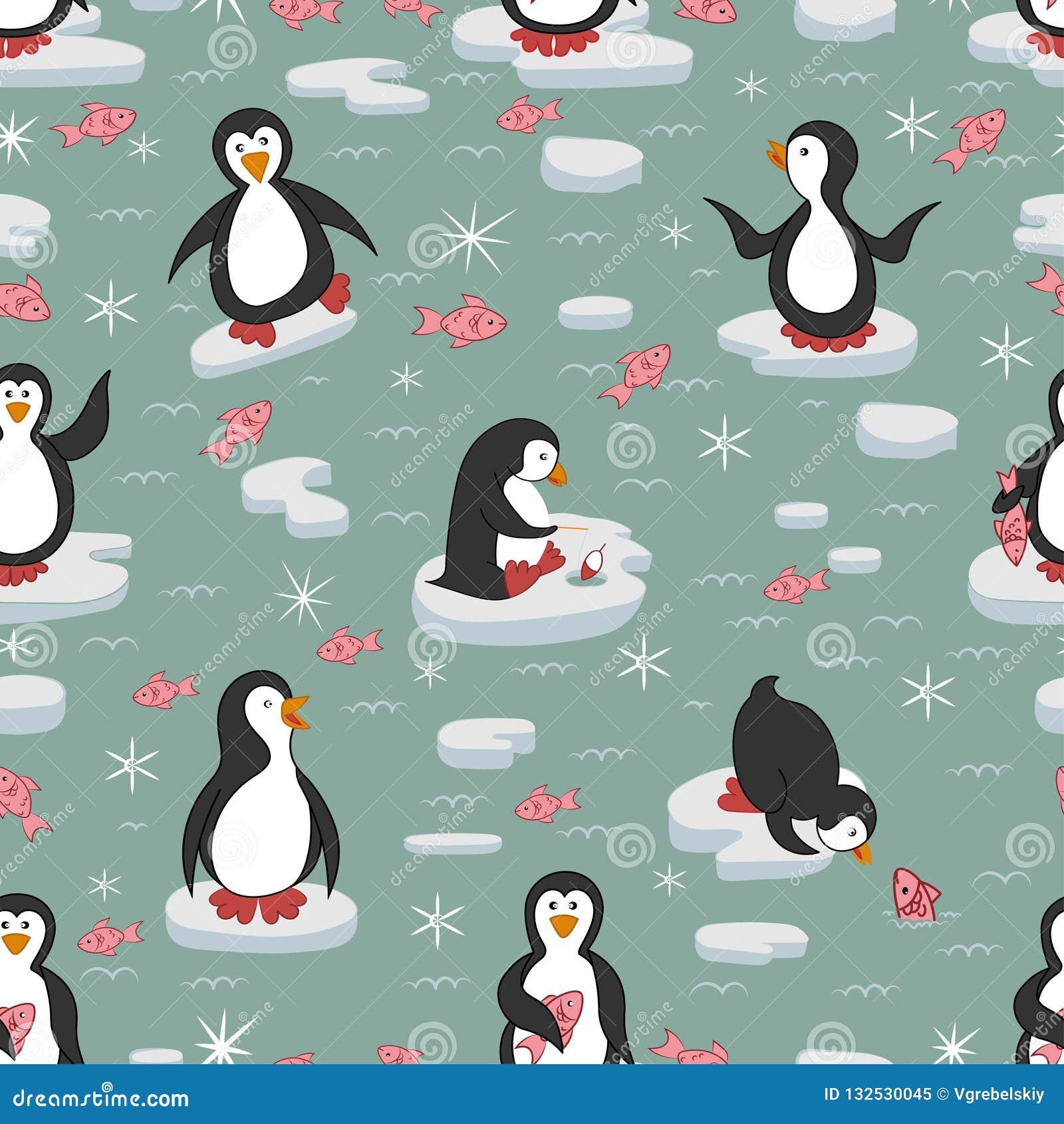 Bezszwowy wzoru Pingwiny na lodowych floes