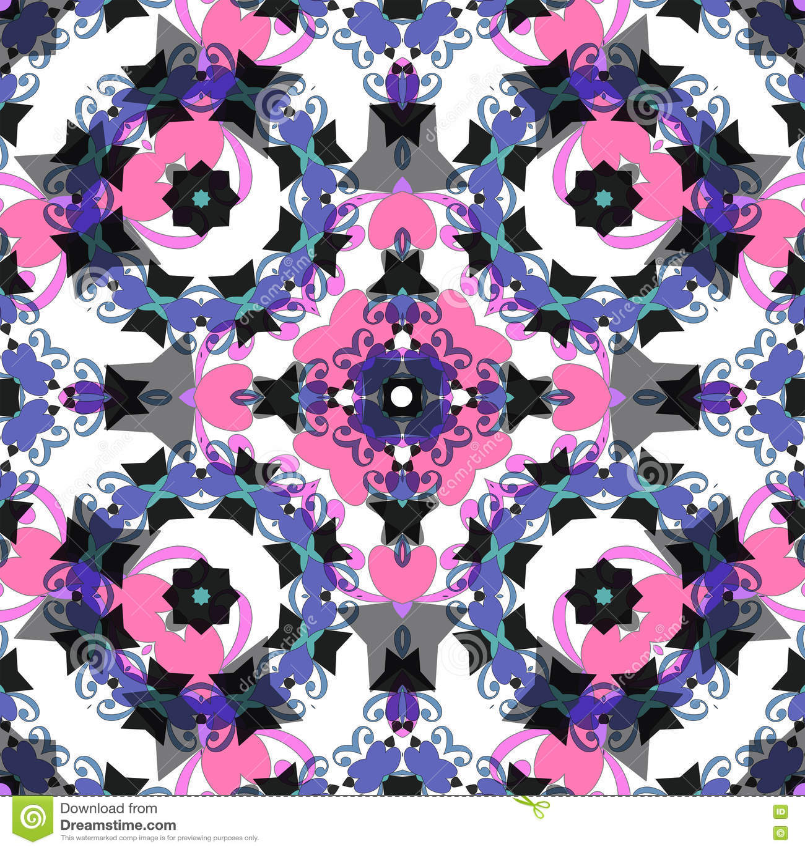 Bezszwowy wzoru Wschodni ornament z kolorowym szczegółu tłem