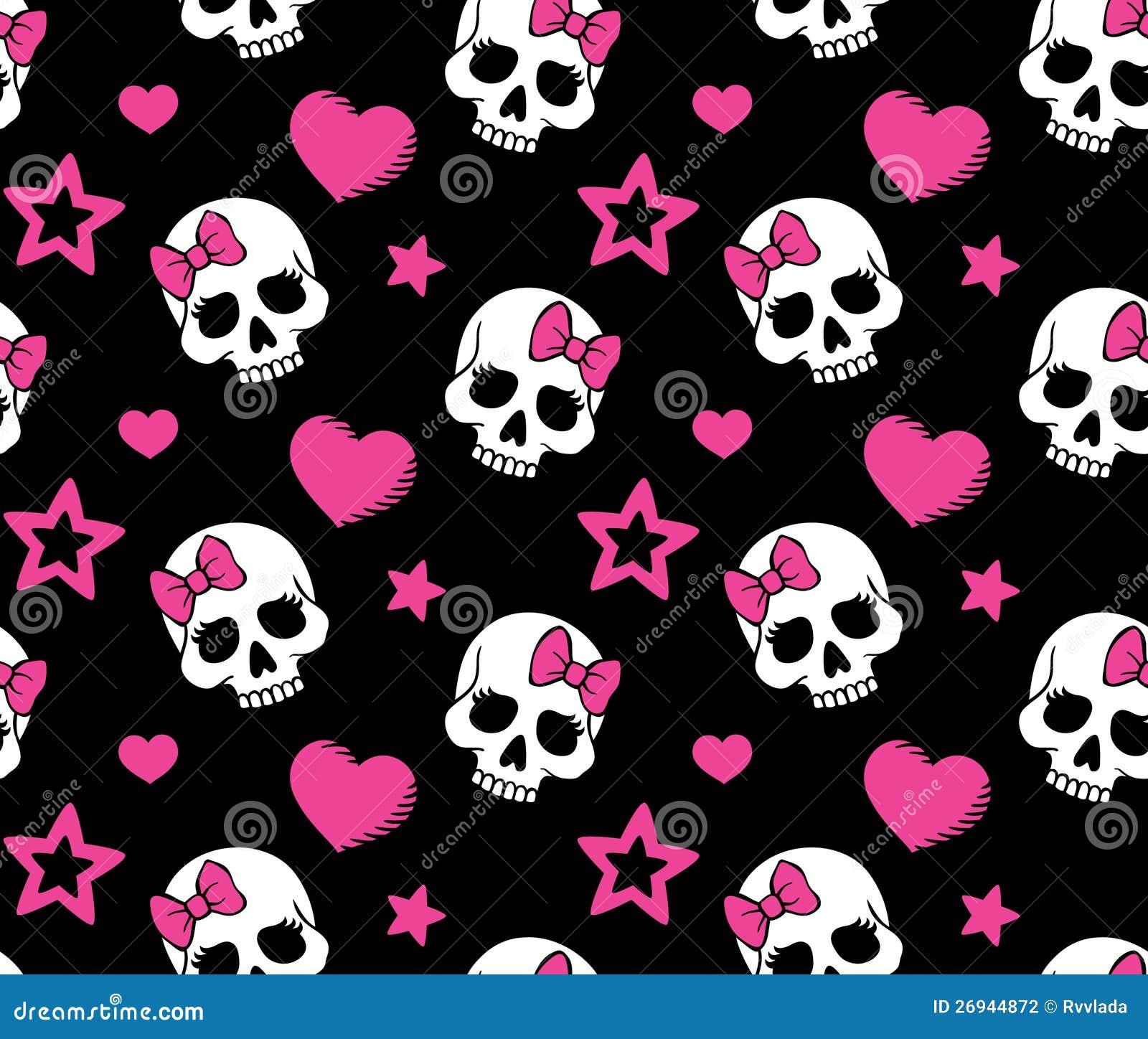 Bezszwowy z sercami i czaszkami