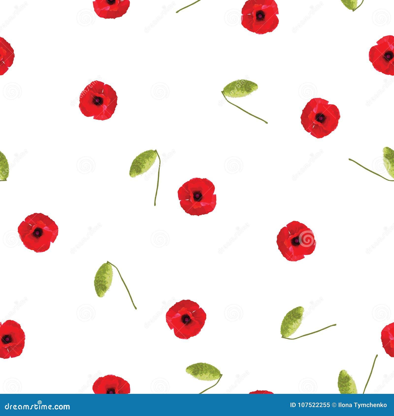 Bezszwowych kwiecistych deseniowych czerwonych maczków mali kwiaty z pączkiem na bielu