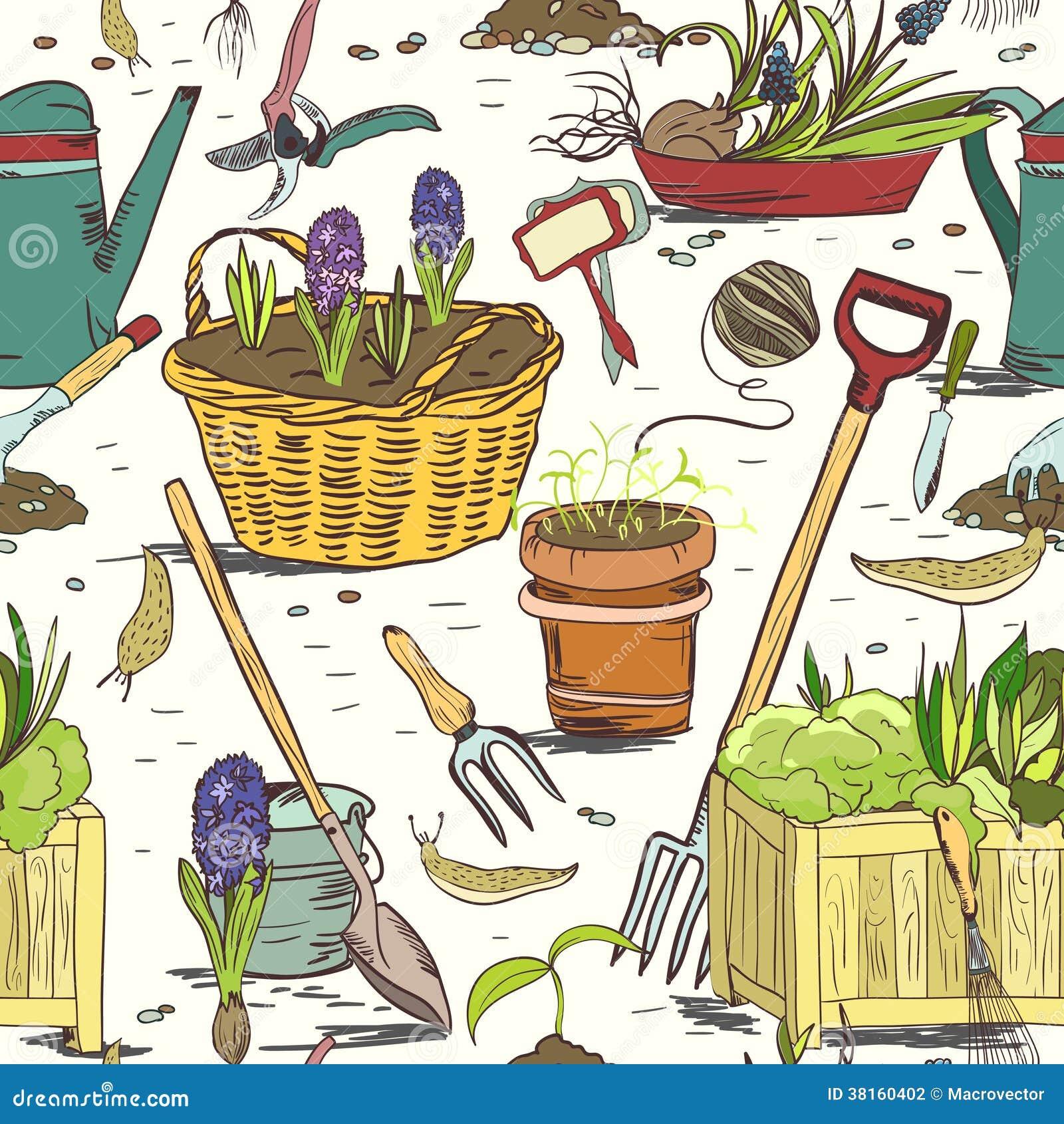 Bezszwowych ogrodnictw narzędzi deseniowy tło