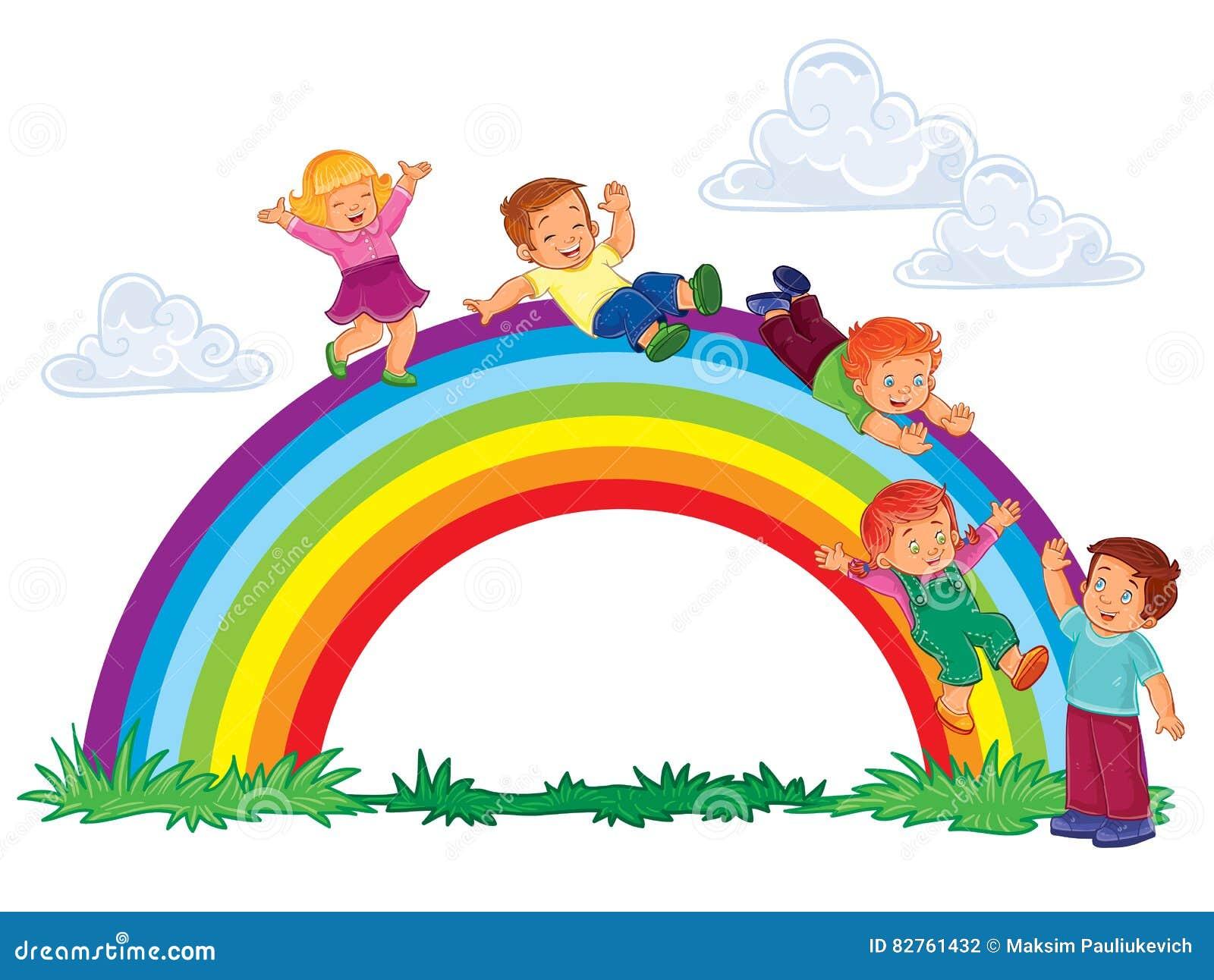 Beztroscy Młode Dzieci ślizgają Się Puszek Tęcza Ilustracja Wektor ...
