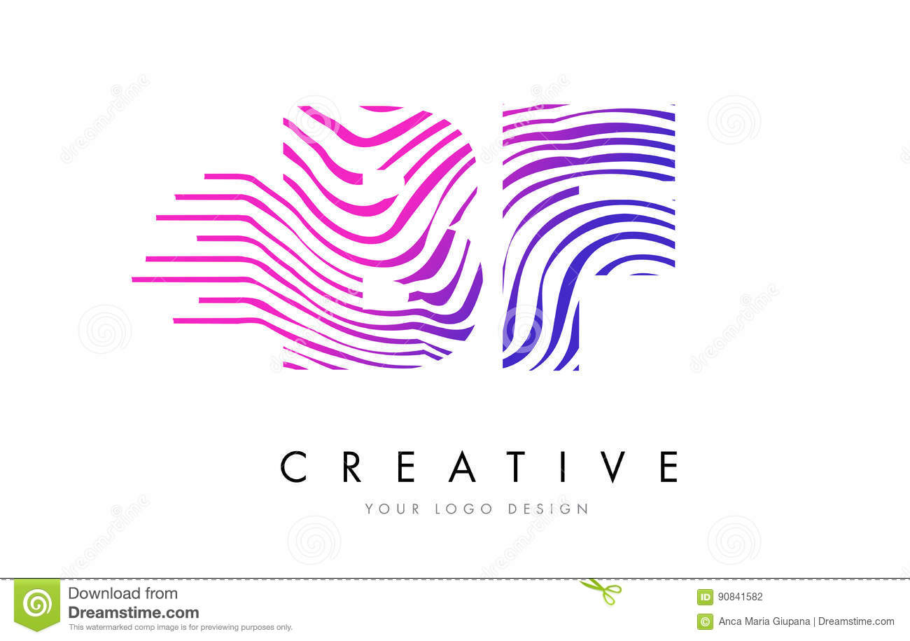 BF B F Zebra Lines Letter Logo Design With Magenta Colors Stock