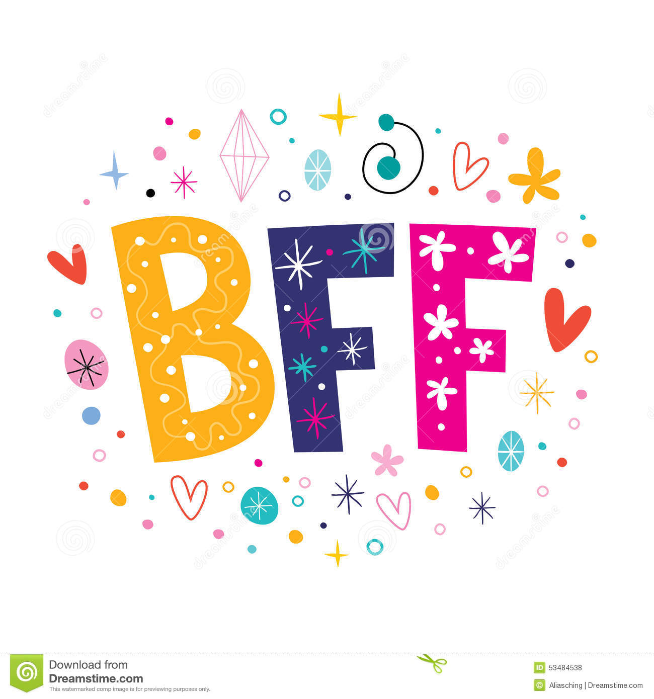 Bff Best Friends Forever Stock Vector Image 53484538