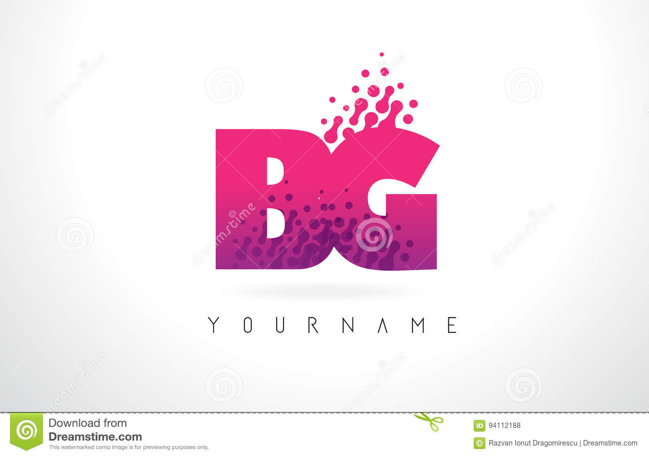 BG B G Letter Logo With Pink Purple Color And Particles Dots Des ...
