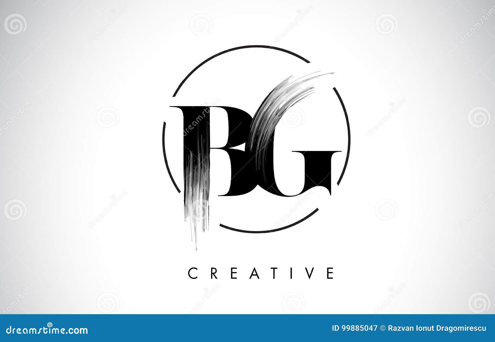 BG muśnięcia uderzenia listu loga projekt Czarny farba logo Pisze list ikonę