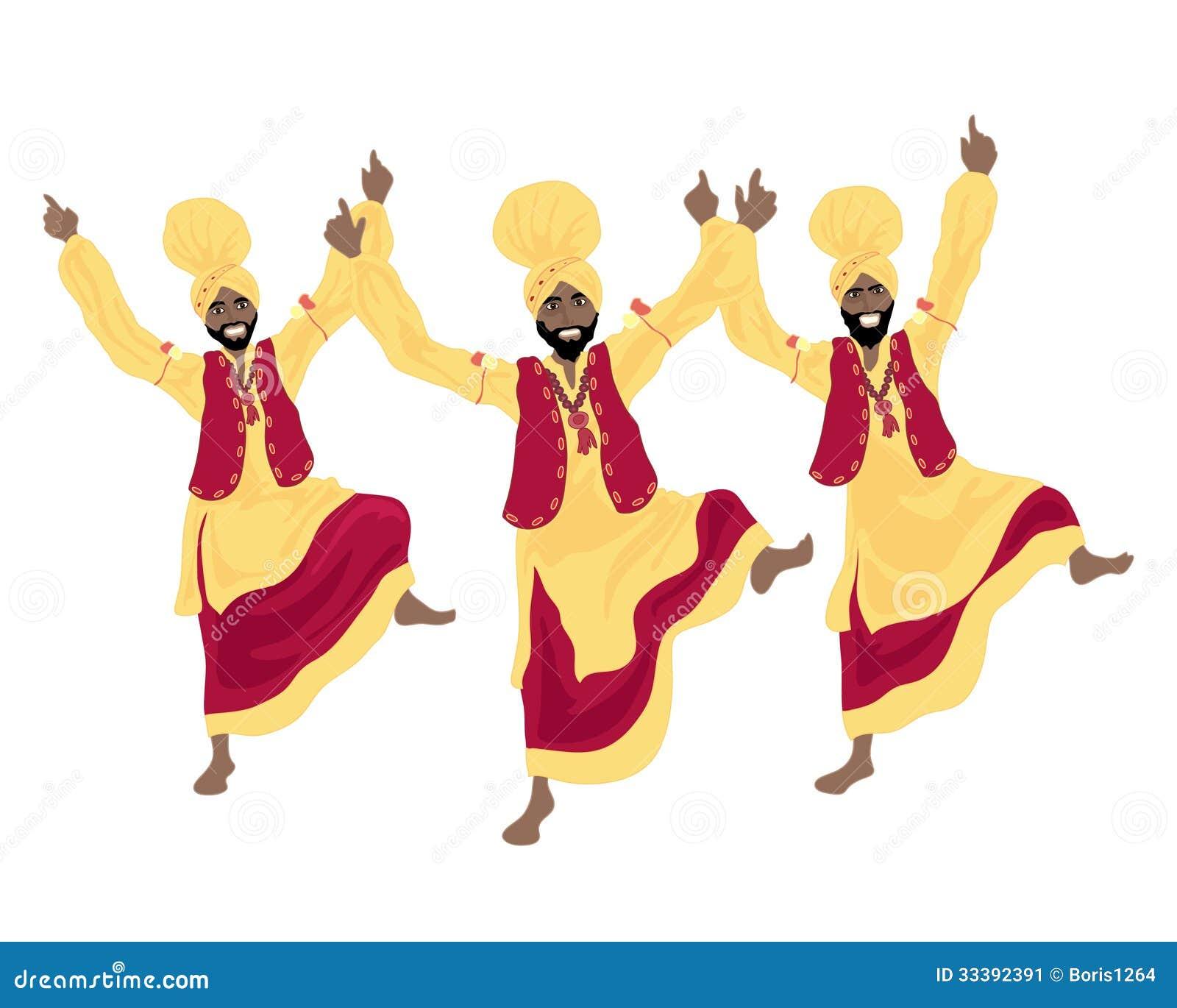 An illustration of three punjabi men performing a bhangra dance in ...
