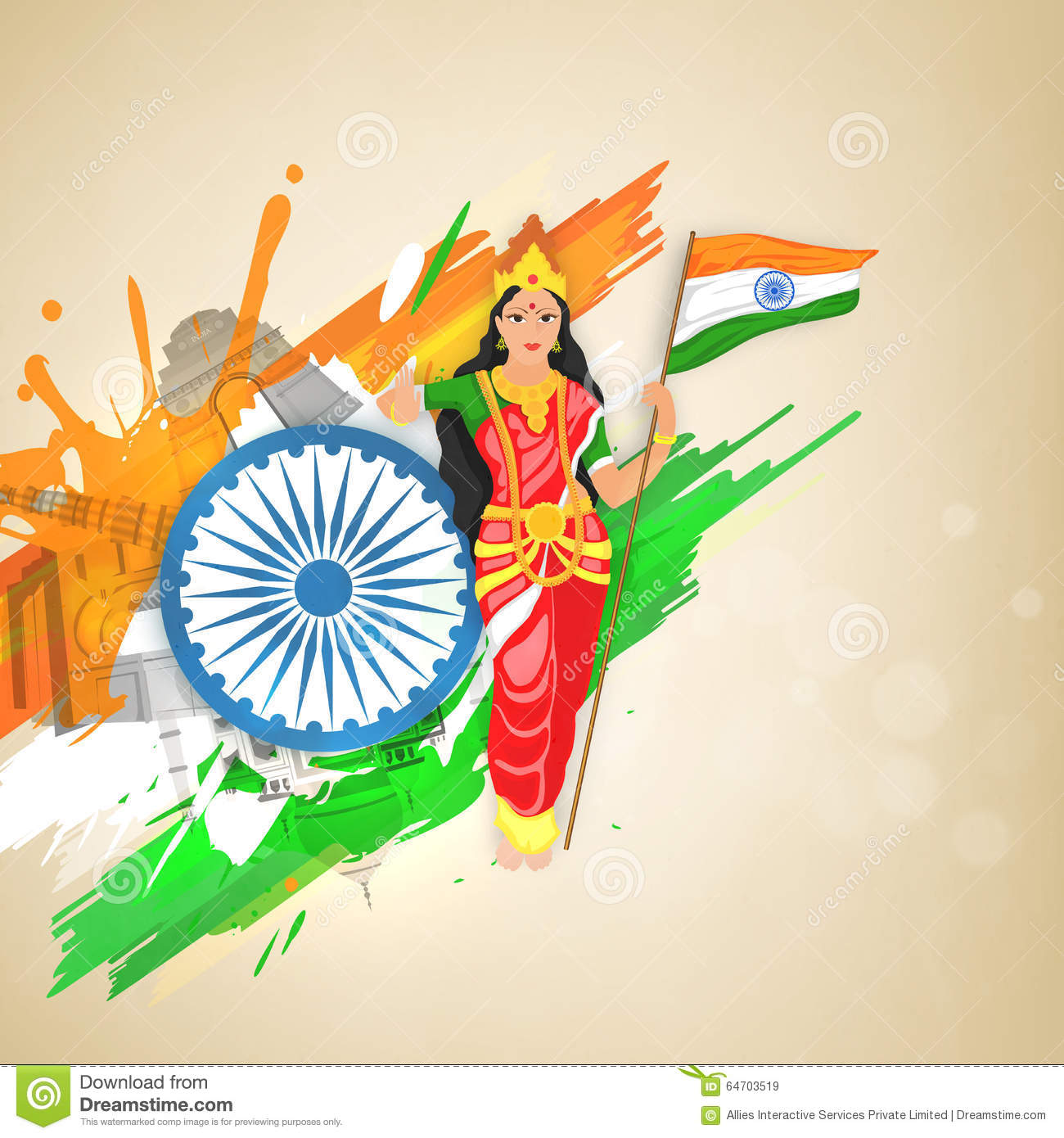 Image result for Image of India with Bharat Mata.