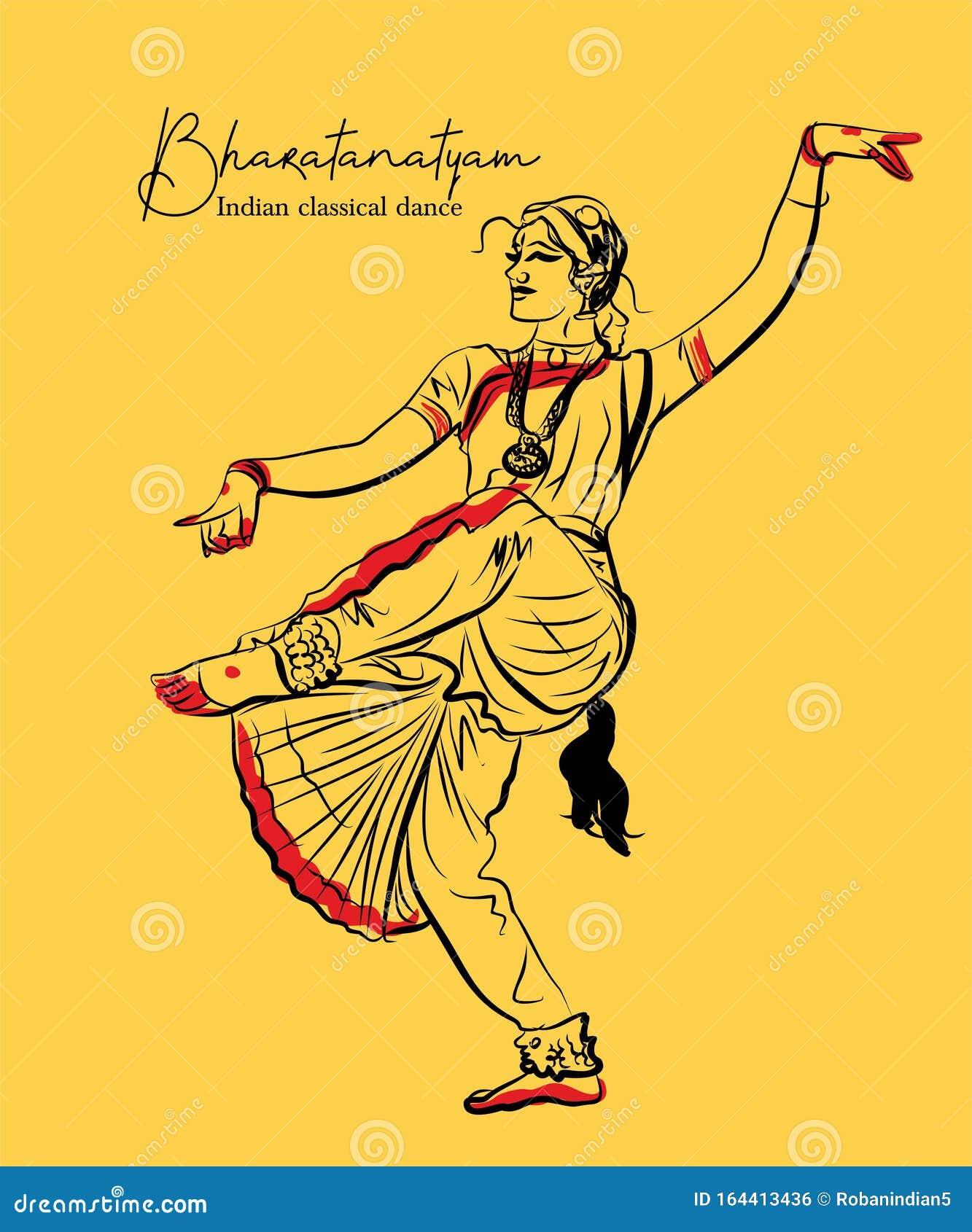 Indian Classical Dance Bharathanatiyam Sketch Or Vector Illustration Stock Vector Illustration Of Classical Hindu 164413436