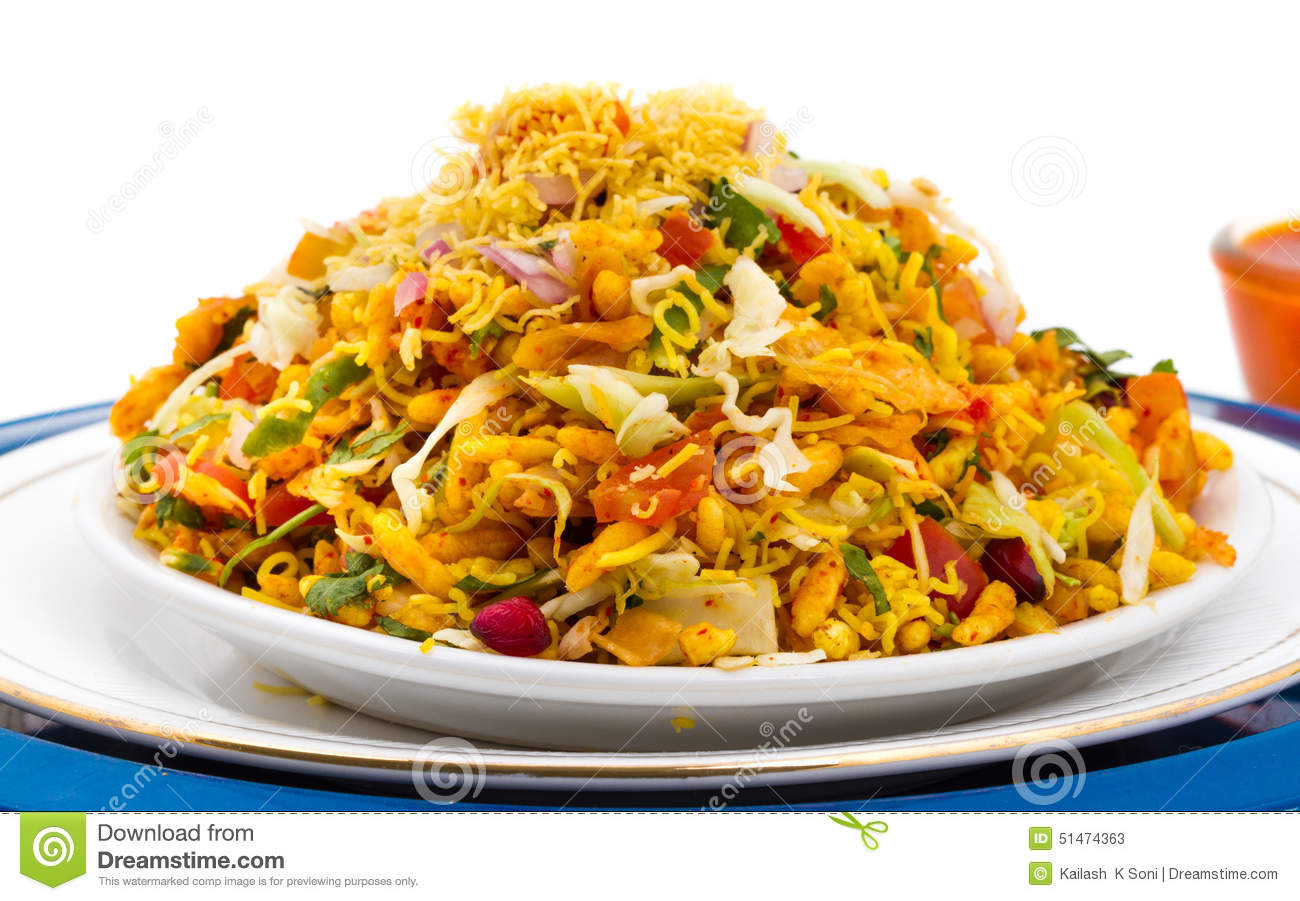 Indian healthy food Bhel Puri on isolated background.