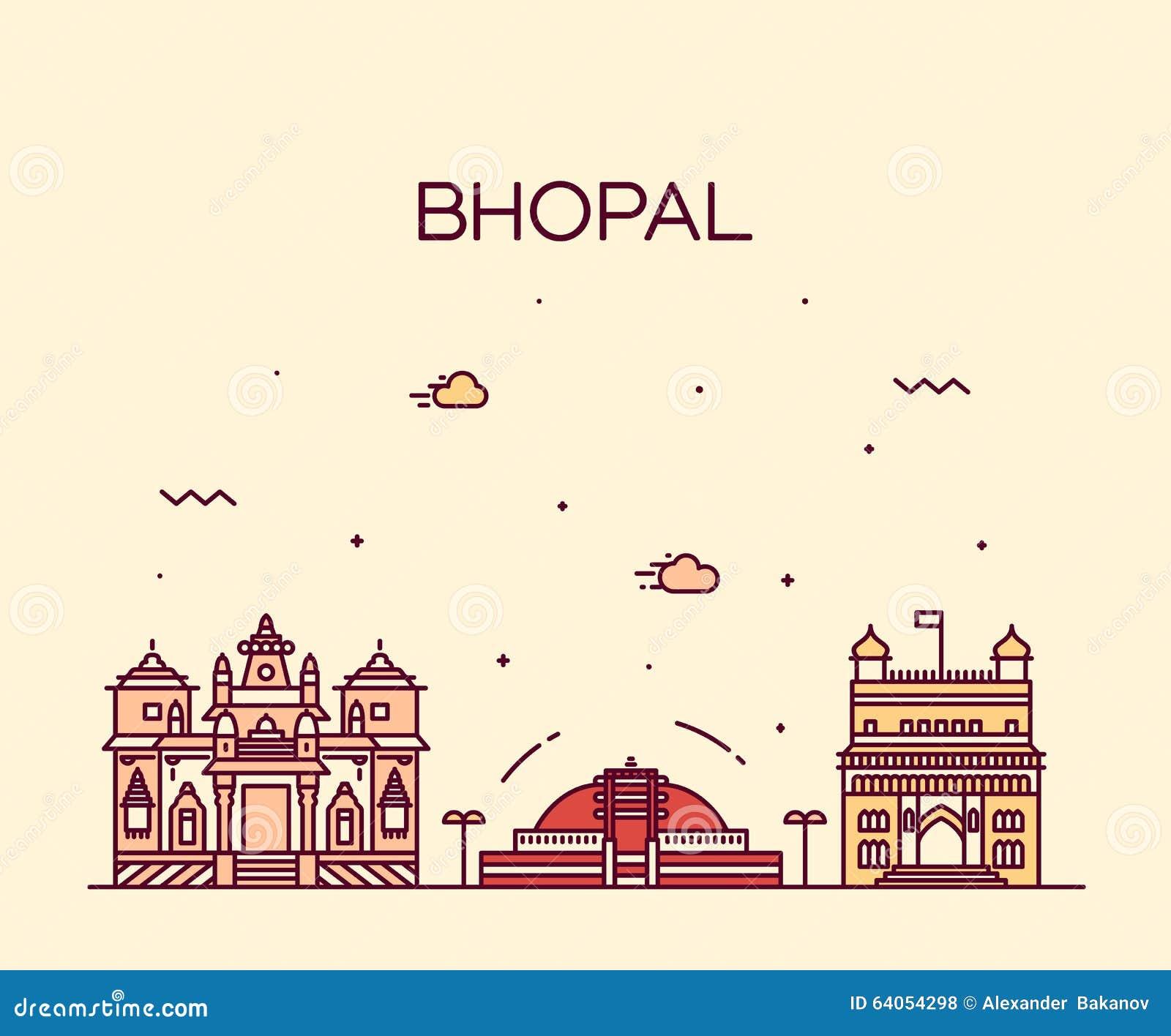 Dream Kitchen Bhopal: Bhopal Skyline Vector Illustration Linear Style Stock