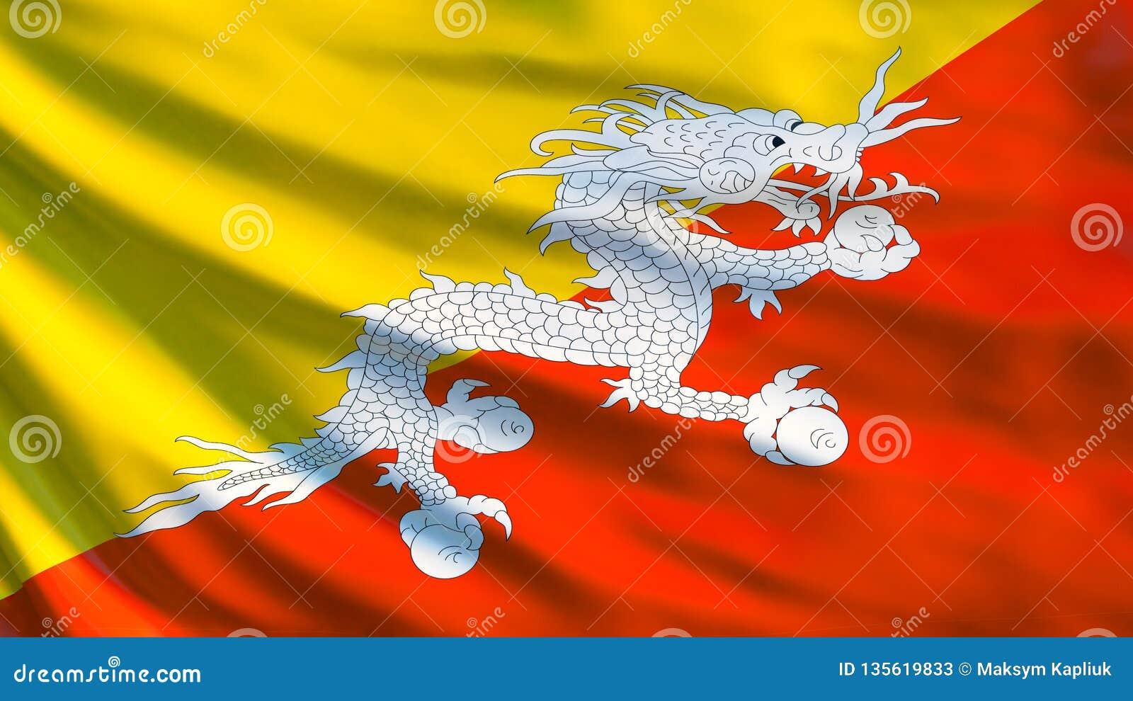 Bhutan Flag  Waving Flag Of Bhutan 3d Illustration Stock