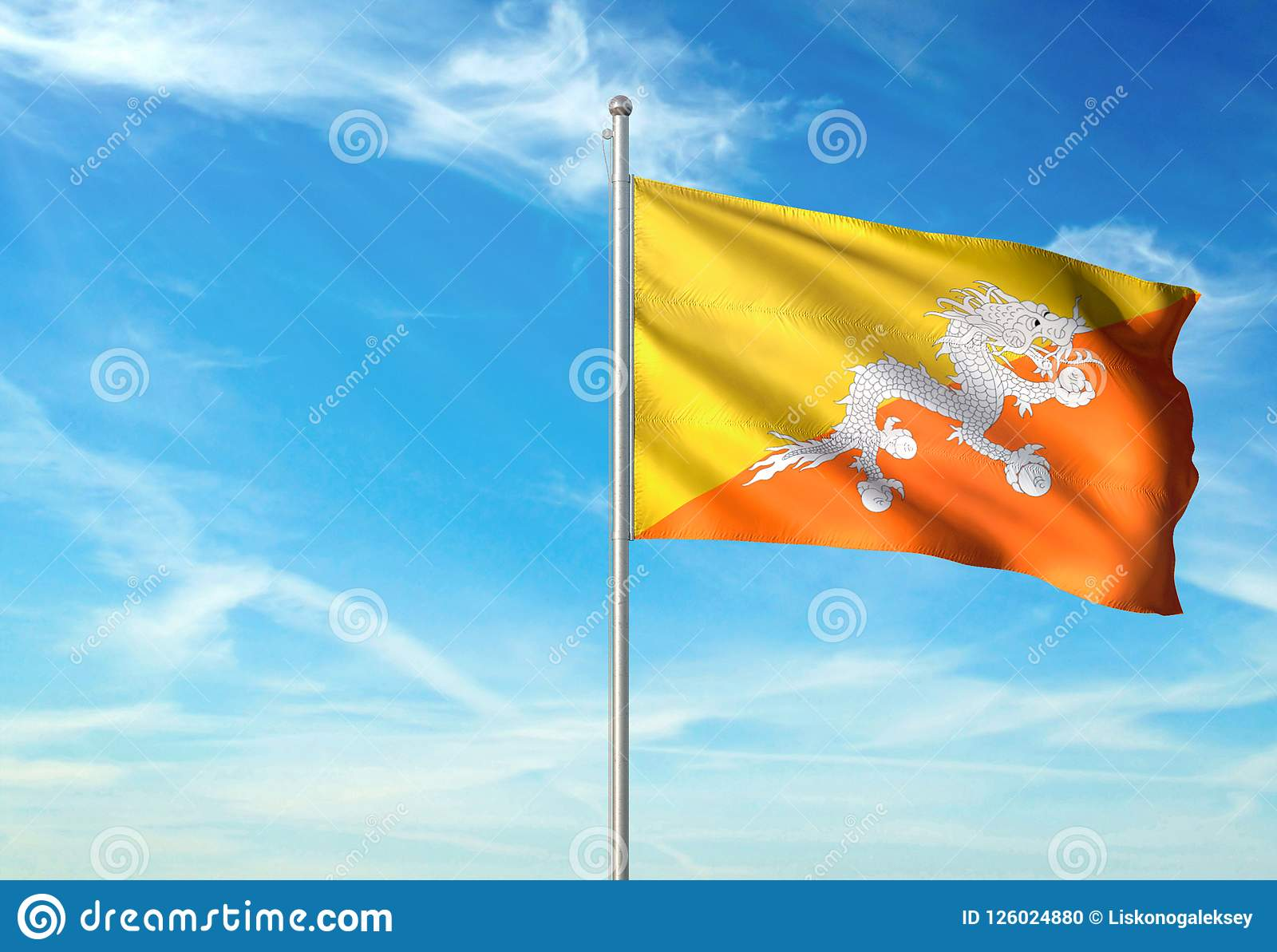 Bhutan Flag Waving With Sky On Background Realistic 3d