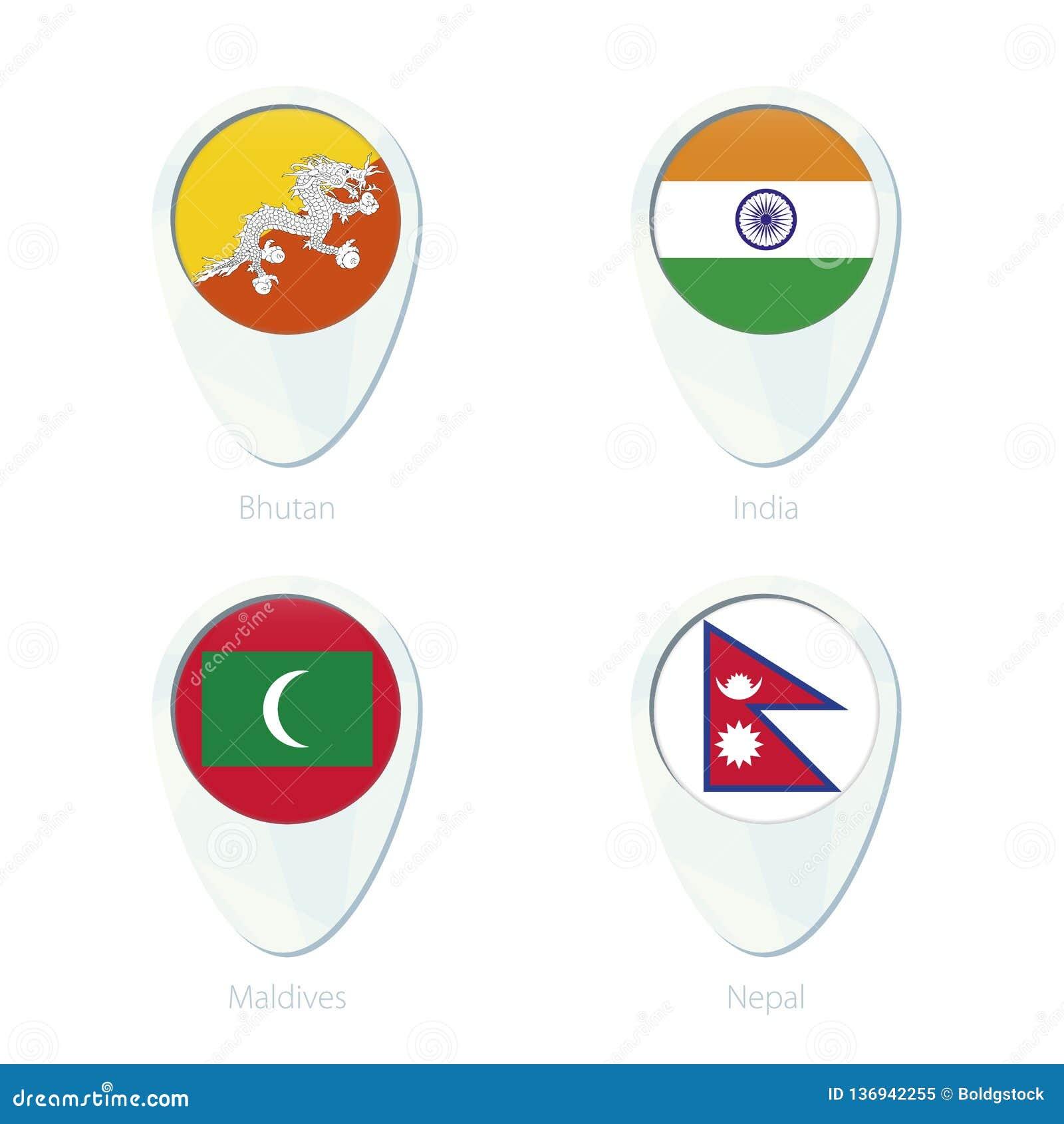 Bhutan, India, Maldives, Nepal Flag Location Map Pin Icon ...