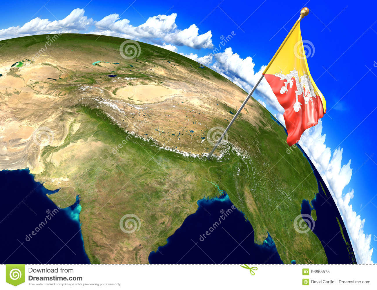 Bhutan National Flag Marking The Country Location On World Map Stock ...