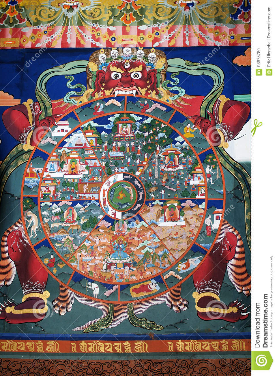 Bhutan, Paro, Painting editorial image  Image of religion