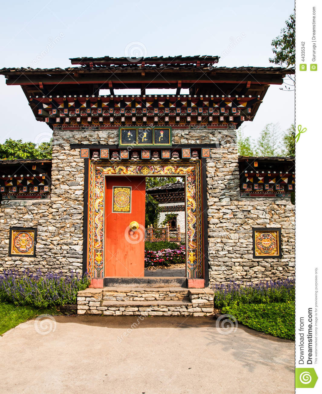 Bhutan Traditional Entrance Gate In Nature Stock Photo