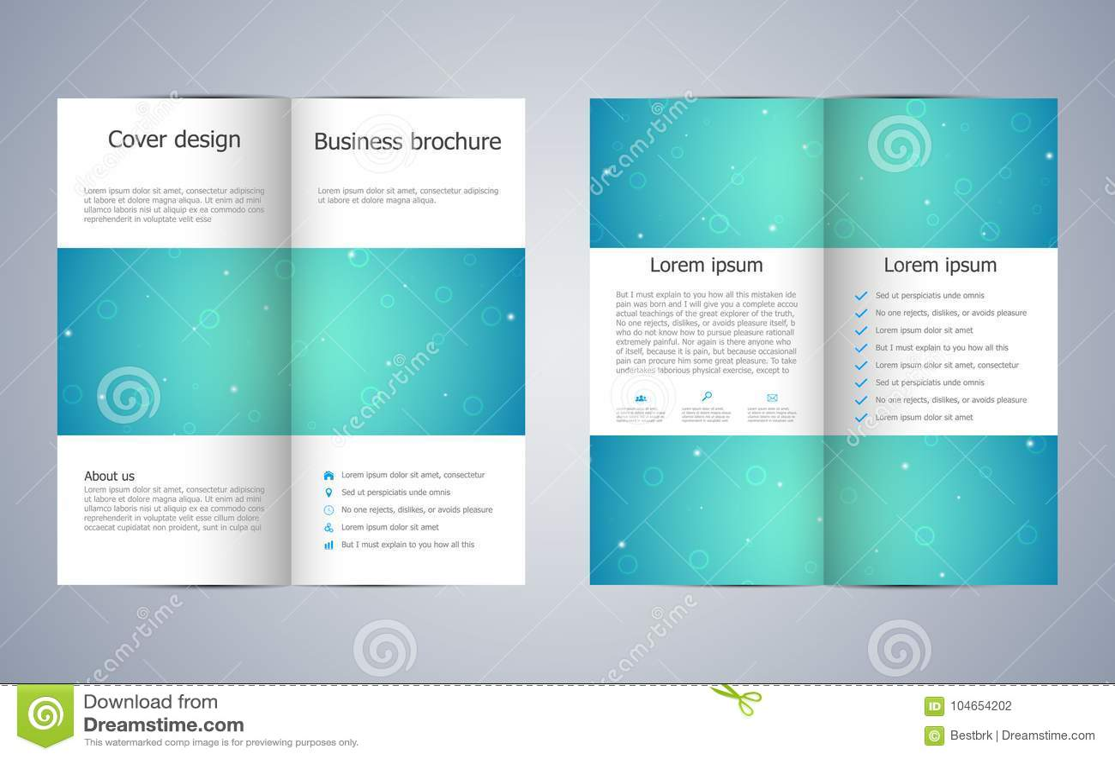 Bi Fold Business Brochure Template With Molecular Structure