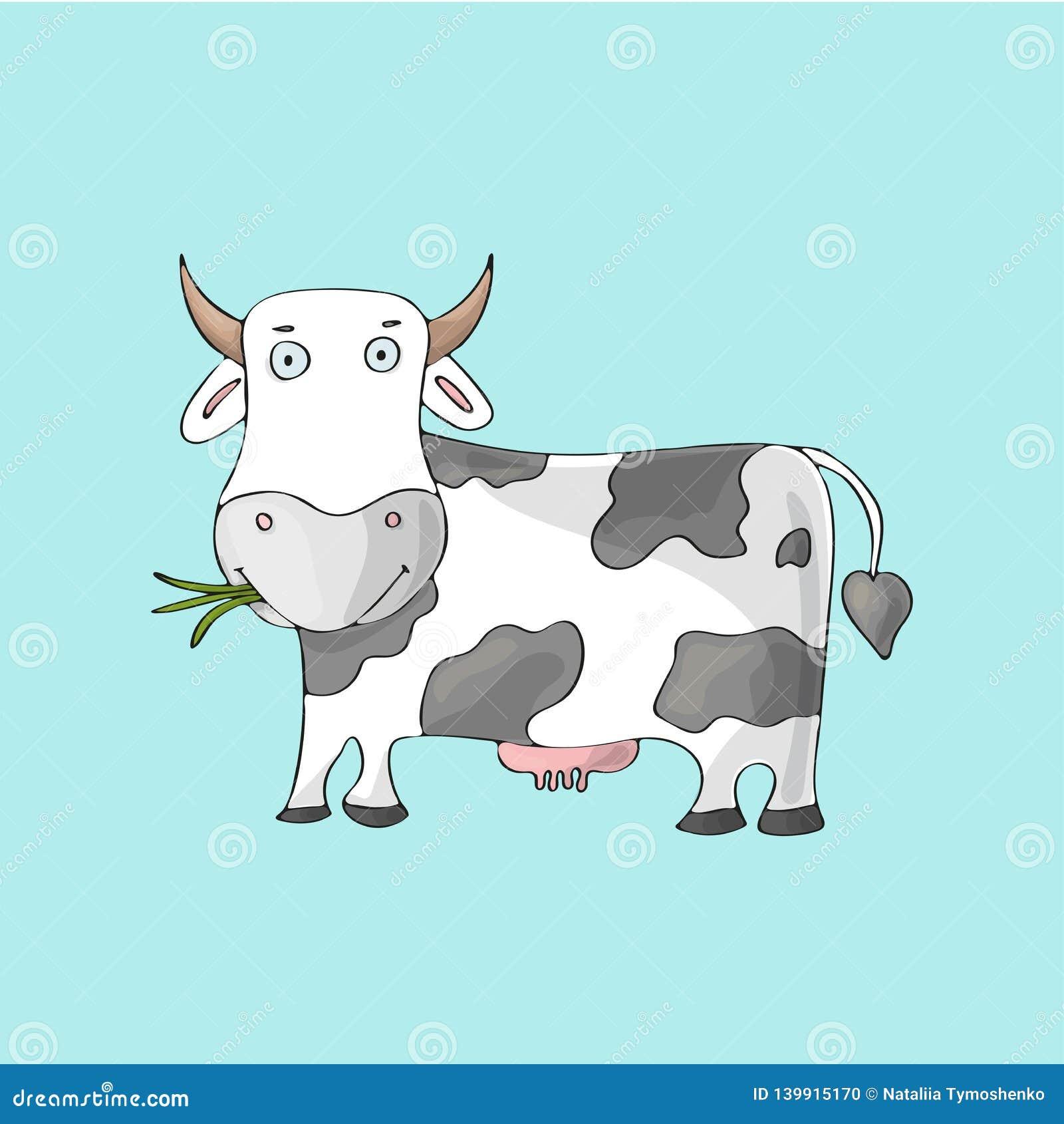 Biała śliczna krowa na błękitnym tle Odosobniony kreskówka wektoru charakter