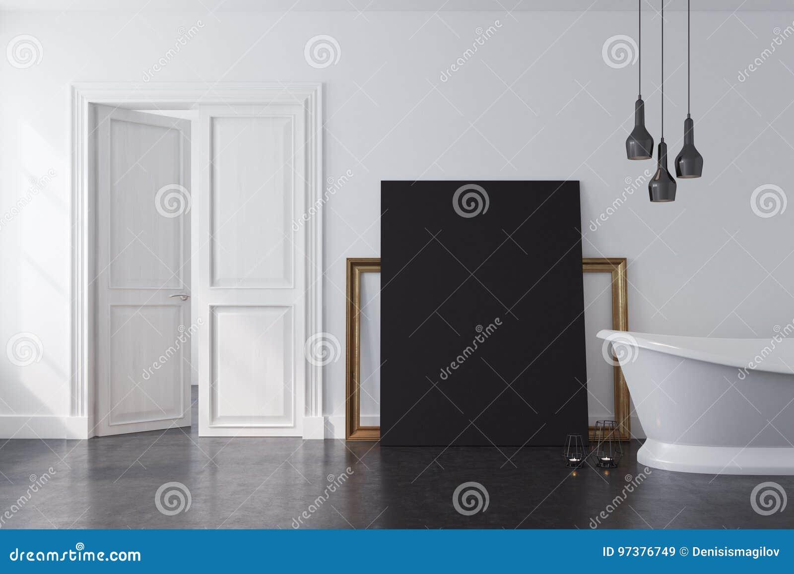 Biała łazienka Czarny Plakat Ilustracji Ilustracja