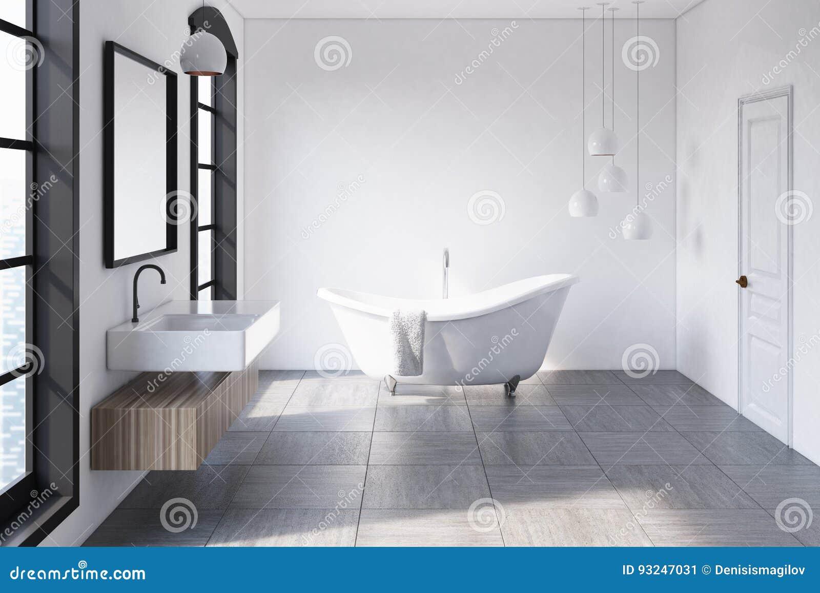 Biała łazienka Lampy Ilustracji Ilustracja Złożonej Z Real