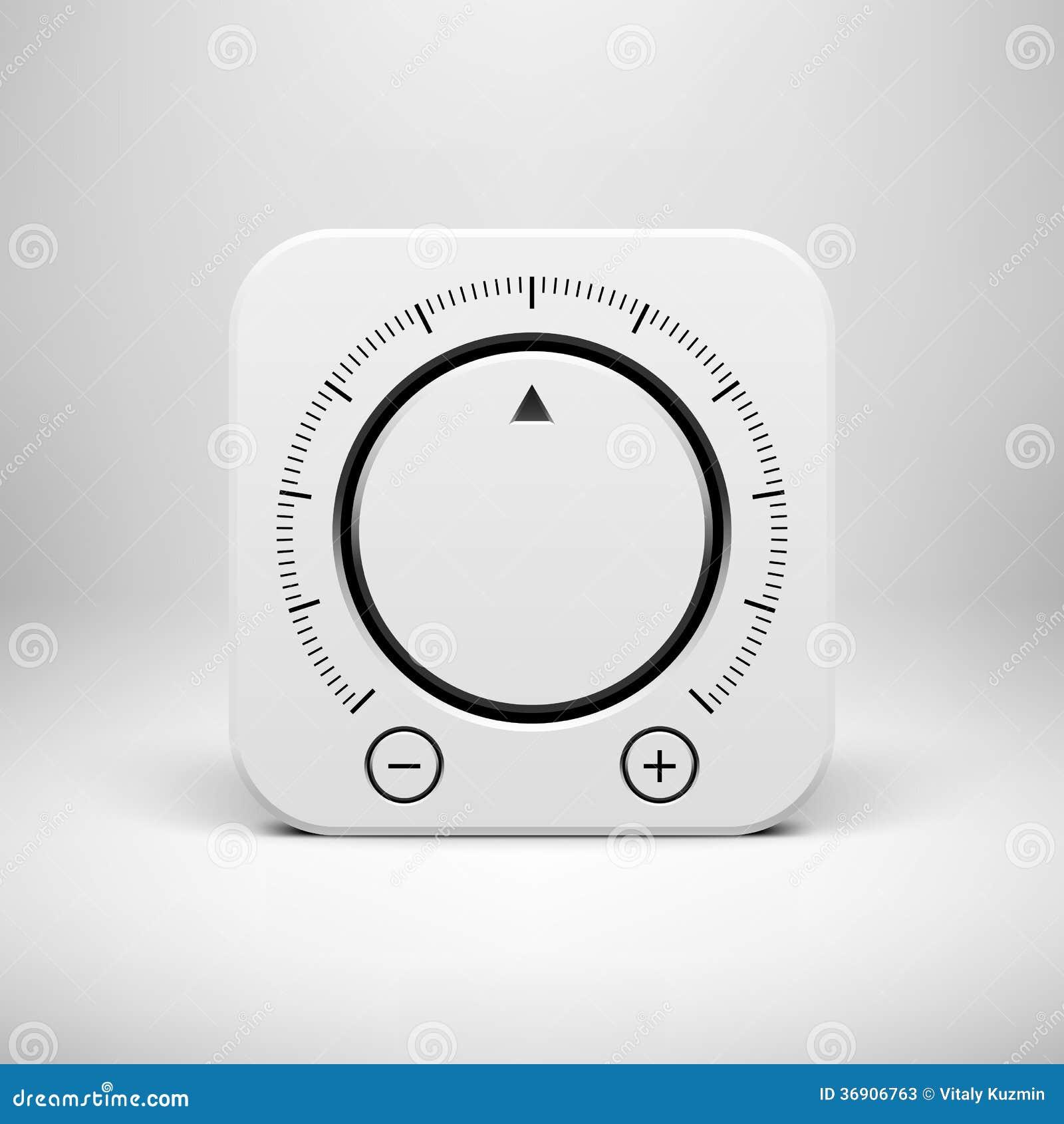Biała Abstrakcjonistyczna ikona z Tomowym gałeczka guzikiem